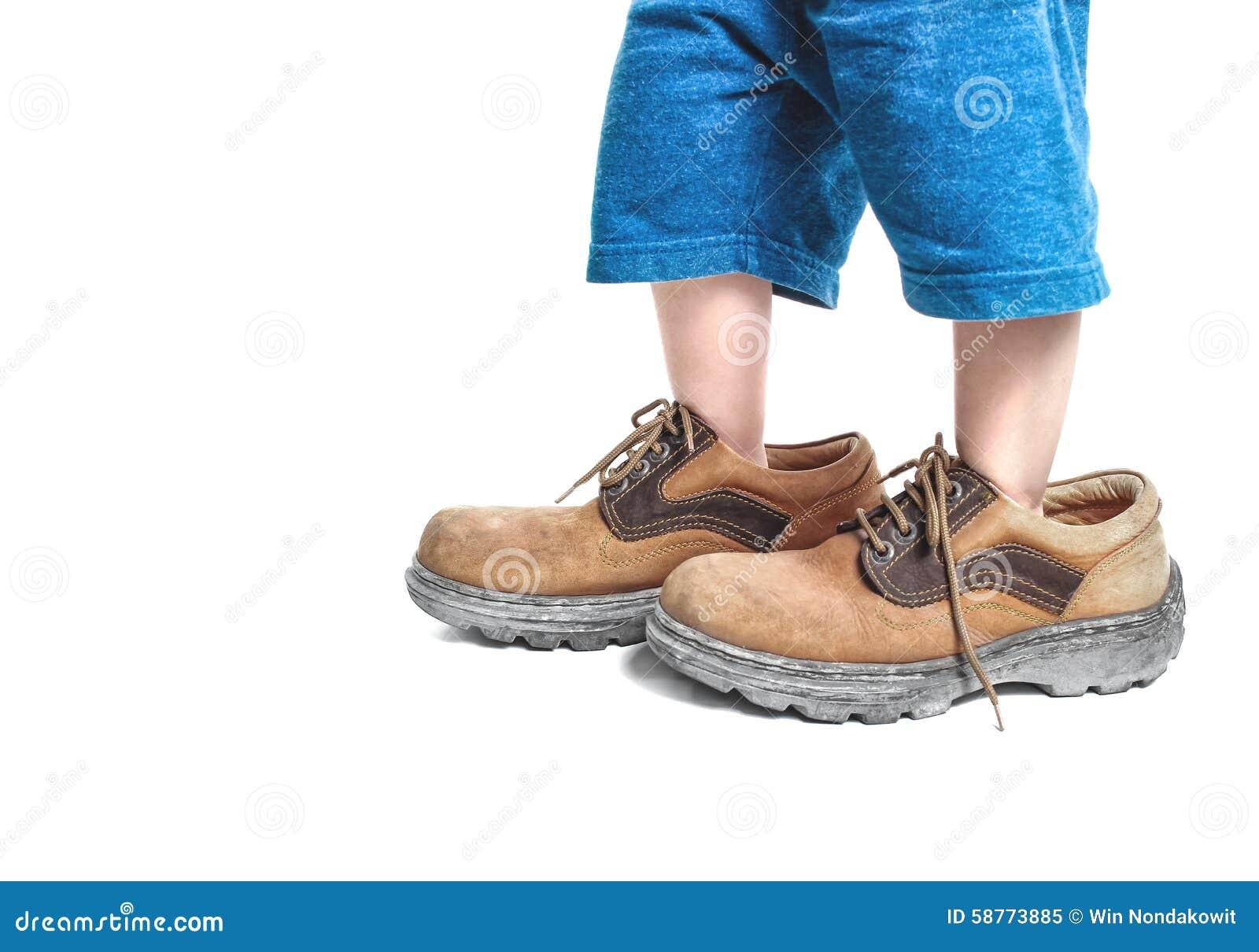 big shoes stock image image of child little cute. Black Bedroom Furniture Sets. Home Design Ideas