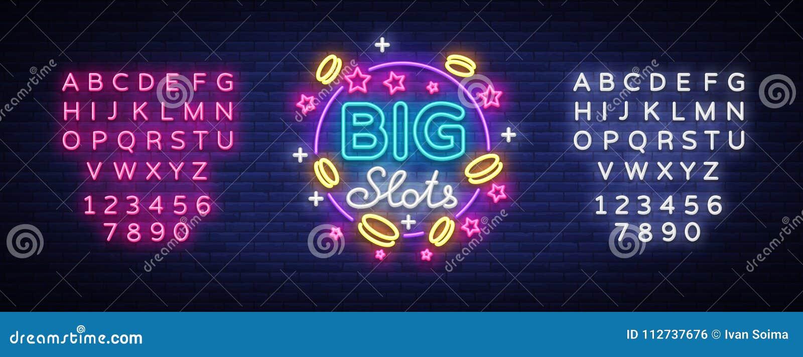 Big slots neon sign. Design template in neon style. Slot Machines Light Logo Symbol, Winning Jackpot, Luminous Web