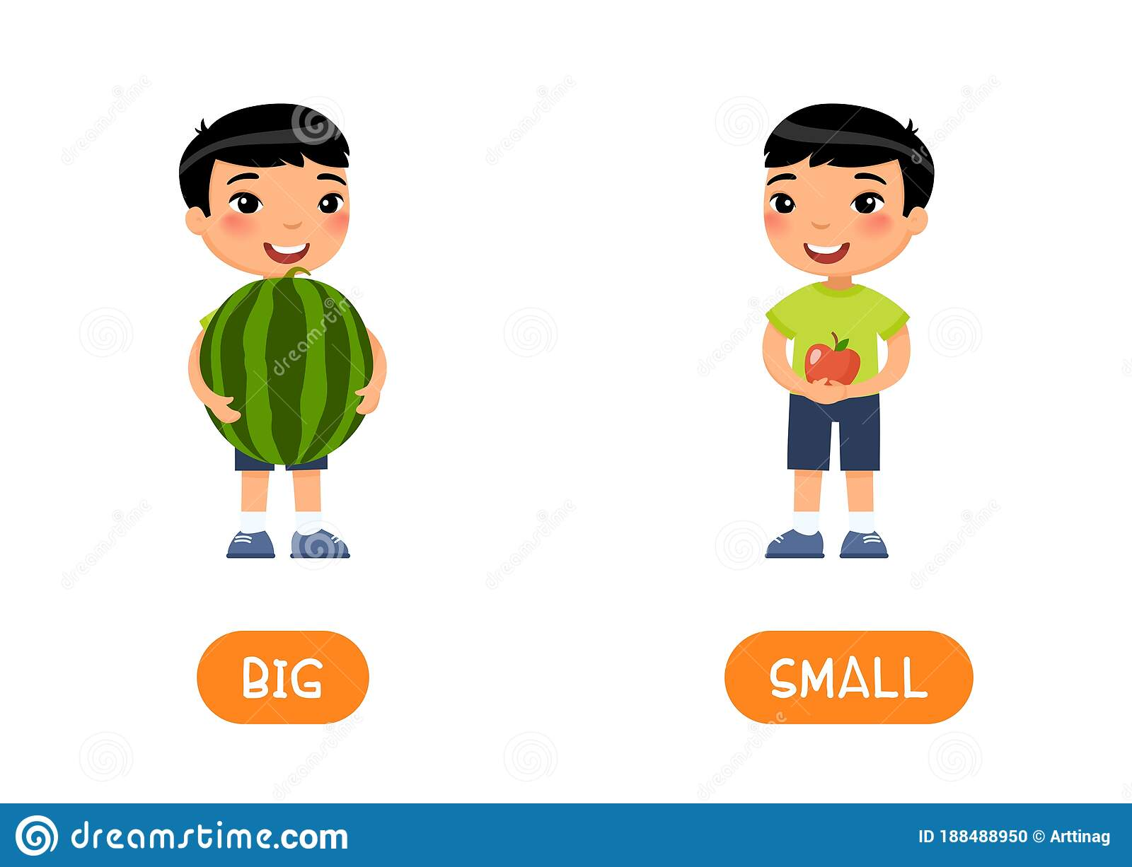 BIG And SMALL Antonyms Word Card Vector Template ...