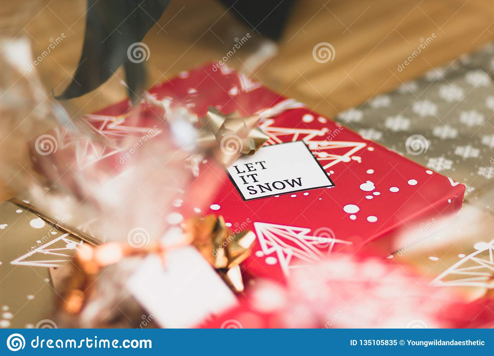 Big And Small Red Gold And Silver Christmas Gift Boxes Stock Image