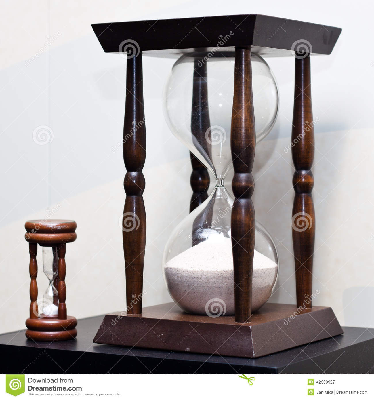 Big And Small Wooden Sand Clock Stock Photo - Image: 42308927