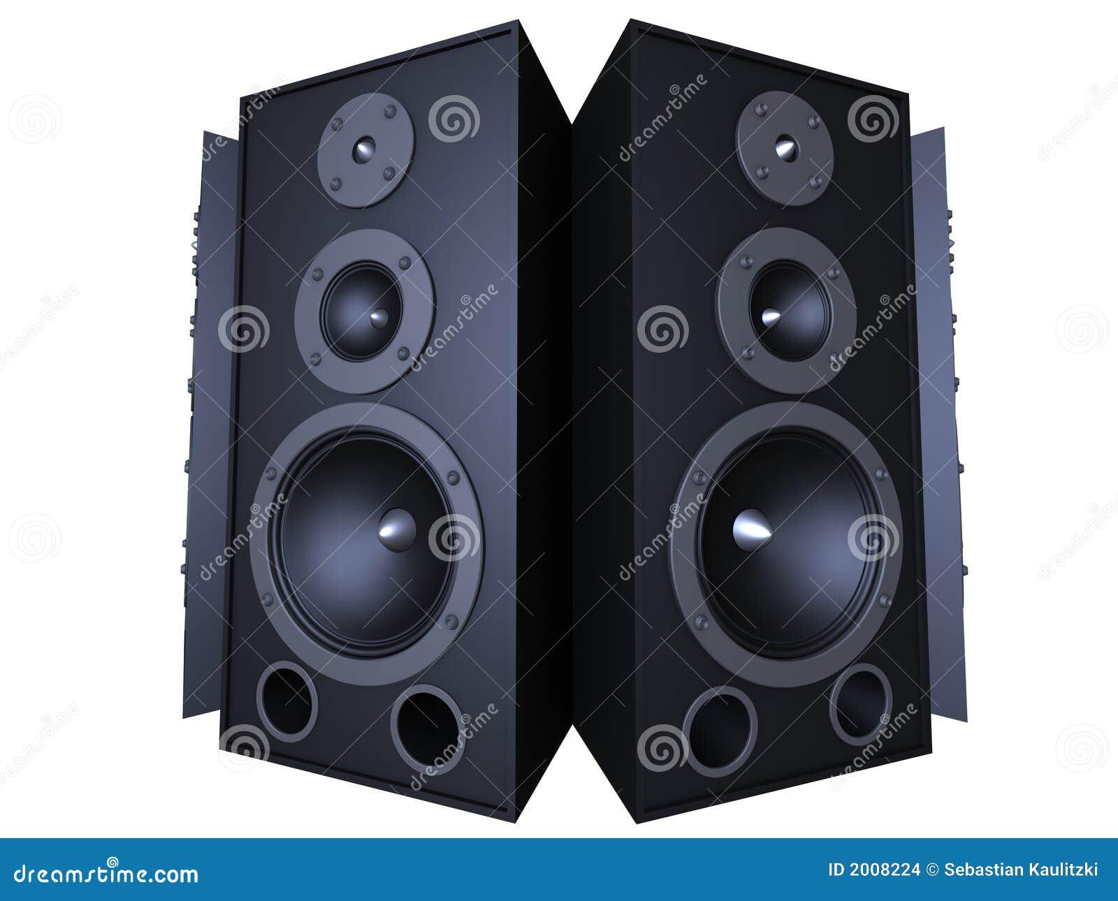 3d rendered illustration of big black speaker.
