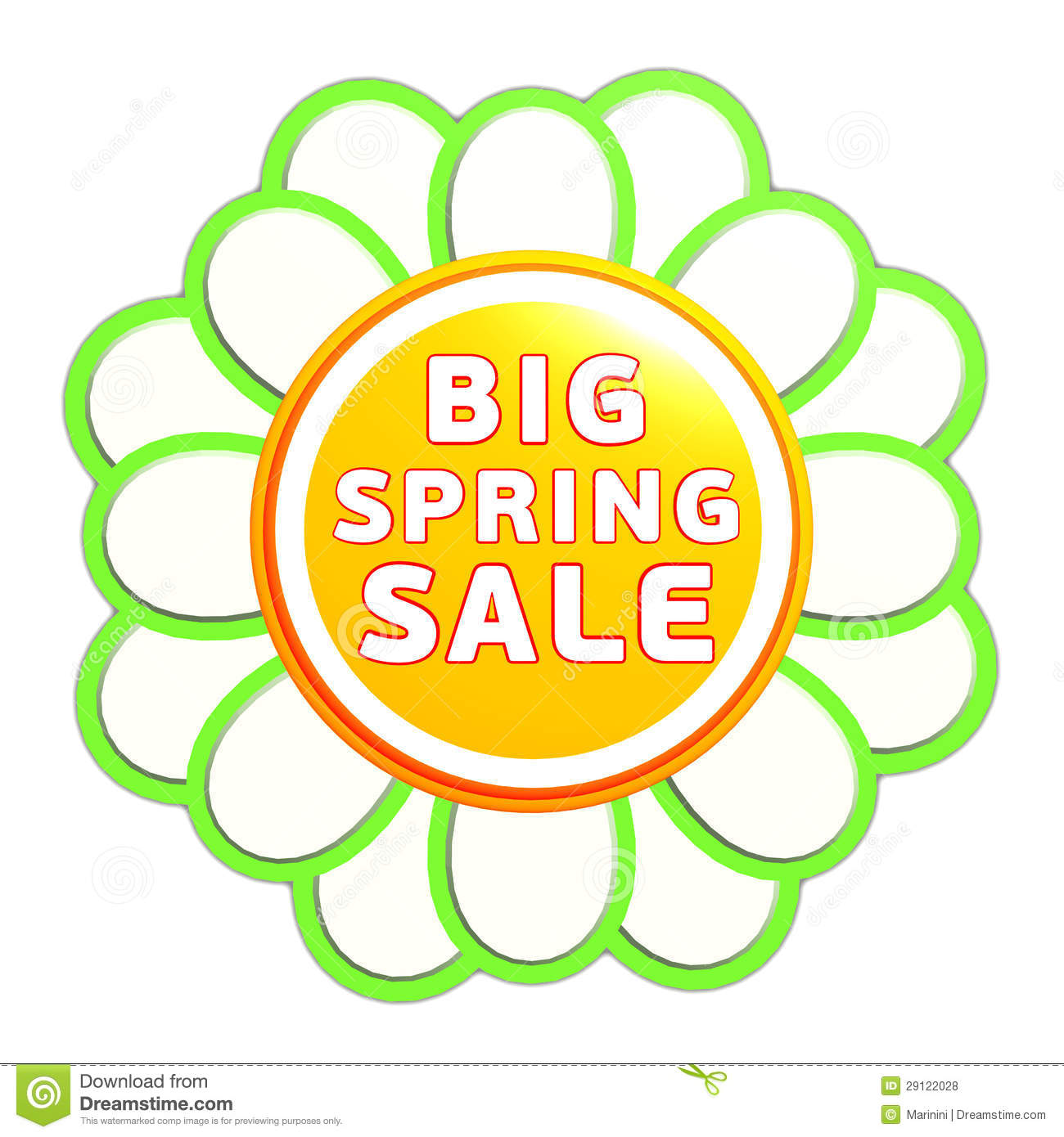 Spring Sale Clip Art Big spring sale green orange
