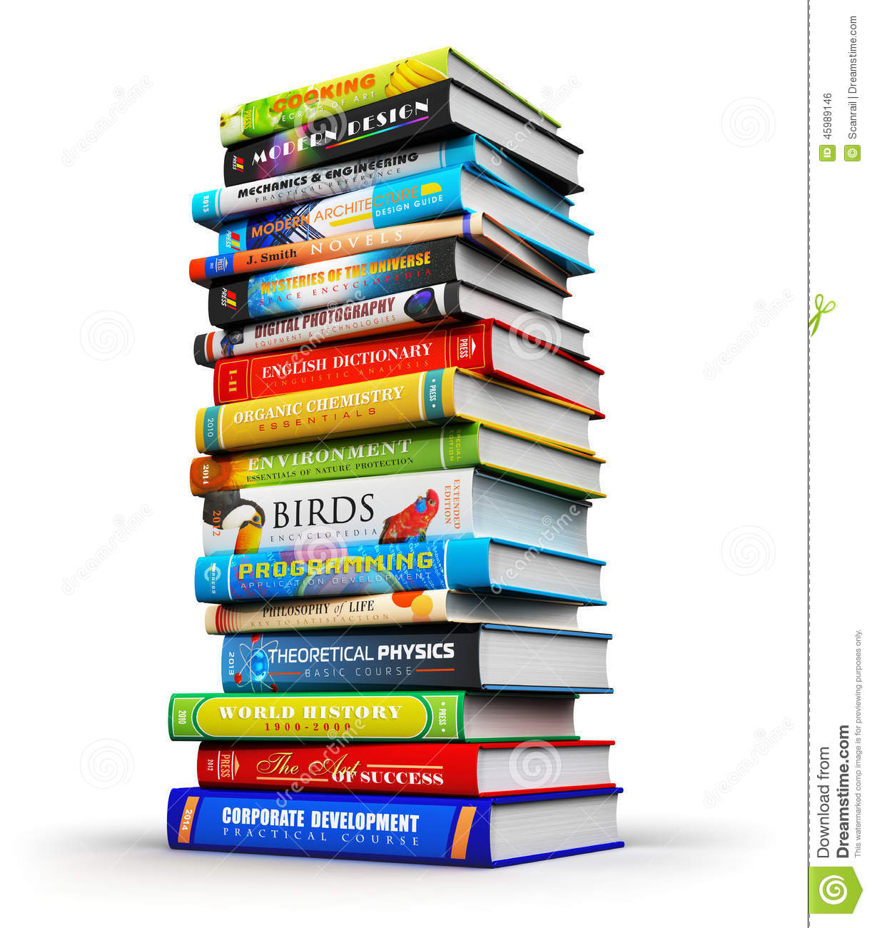 Stock Illustration Big Stack Color Hardcover Books Creative Abstract S...