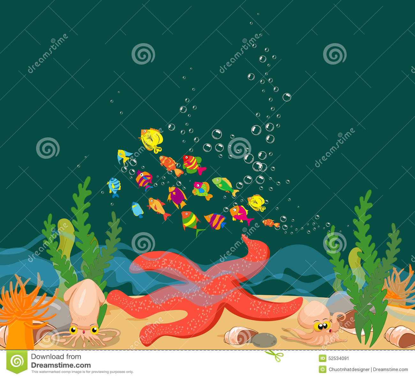 Stock Illustration Big Starfish Under Sea Enjoyed Life Ocean Fishs Des...