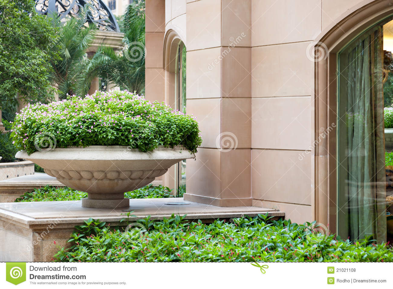 Vintage wooden window frame with curtain and flowerpot stock - Big Stone Flowerpot In Garden Royalty Free Stock Photos