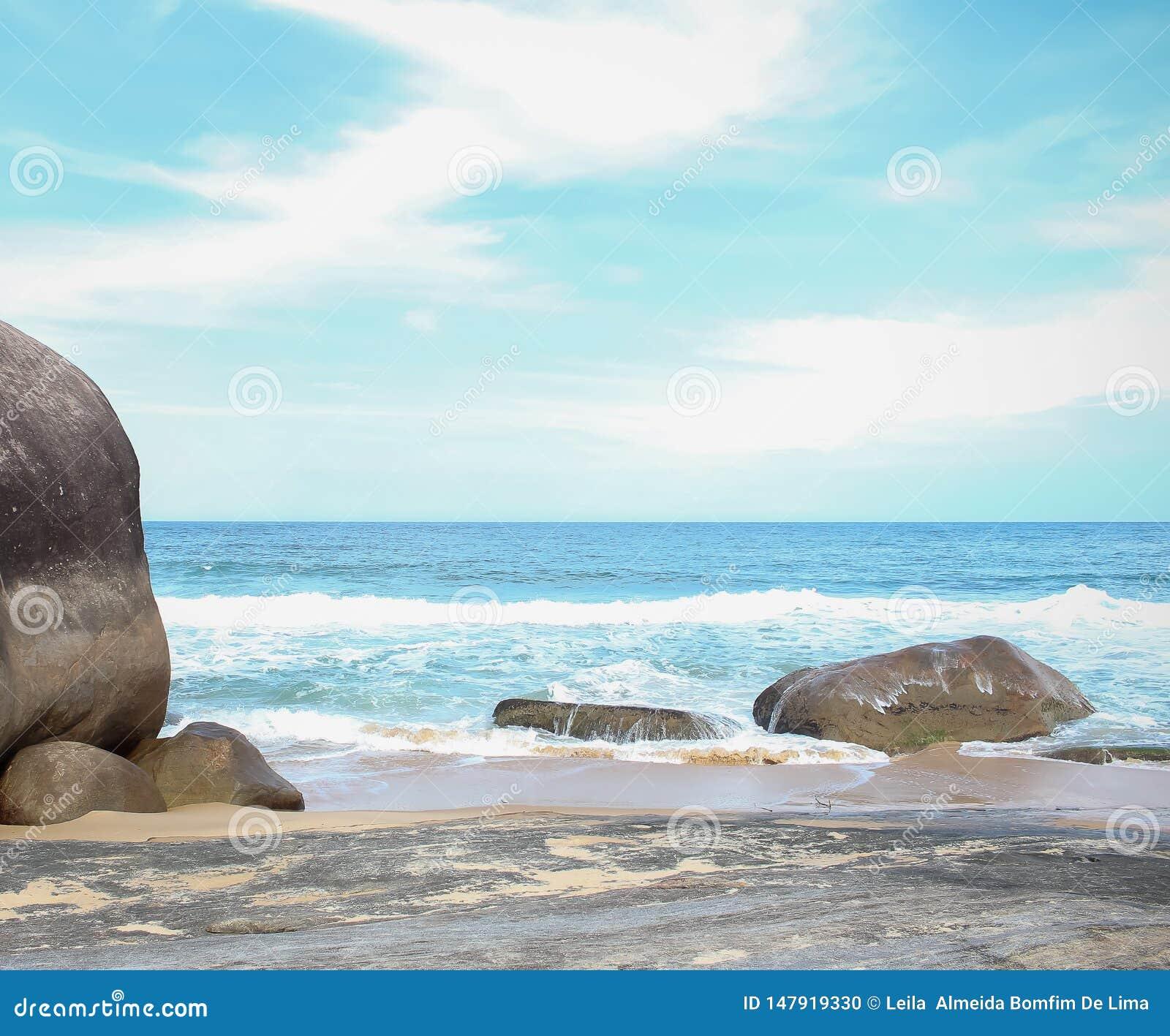 The big stone in the sea.