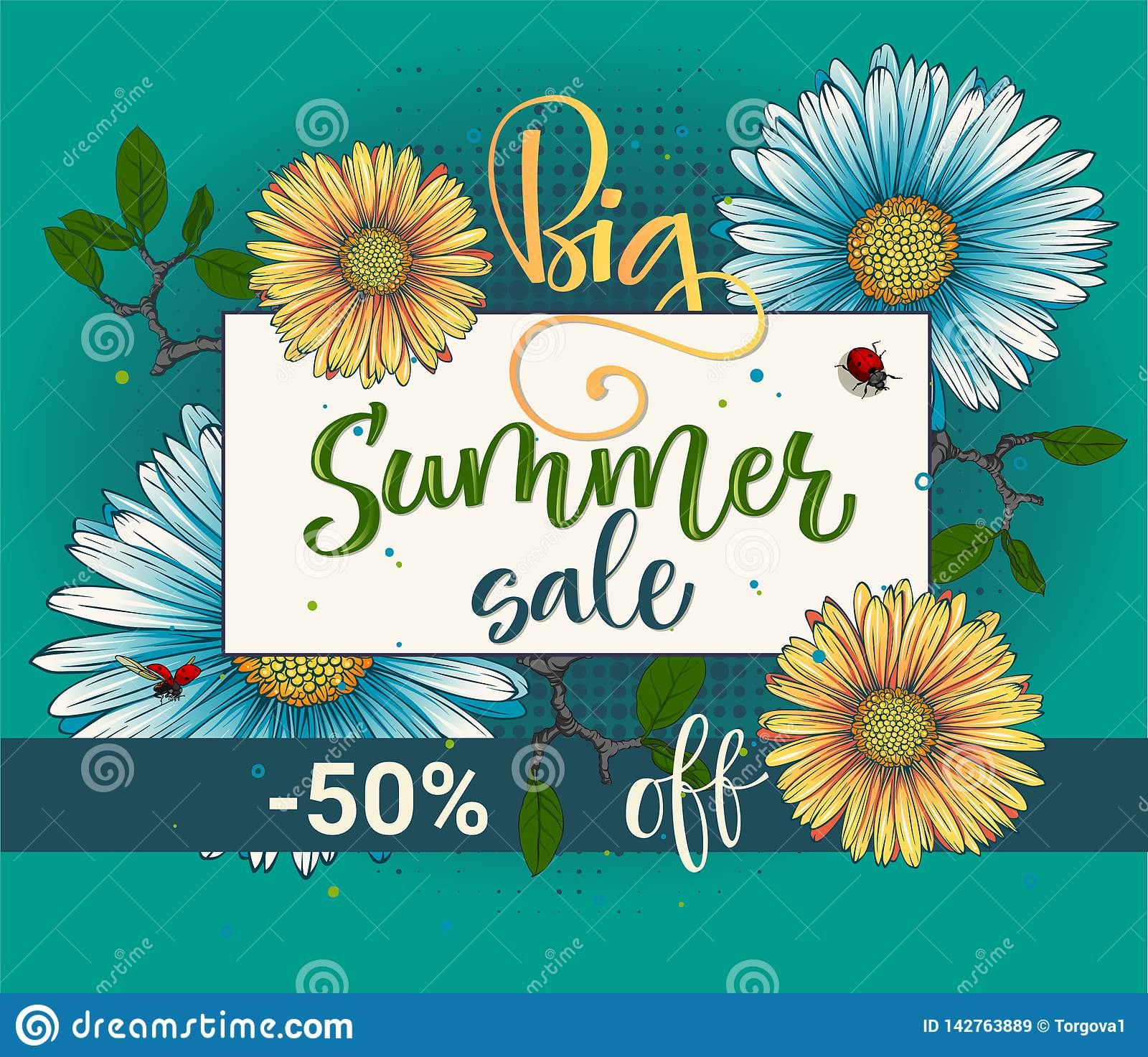 Big summer sale vector colour calligraphy floral pattern