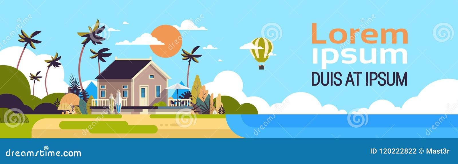 big summer villa house air balloon surf board palm trees greeting