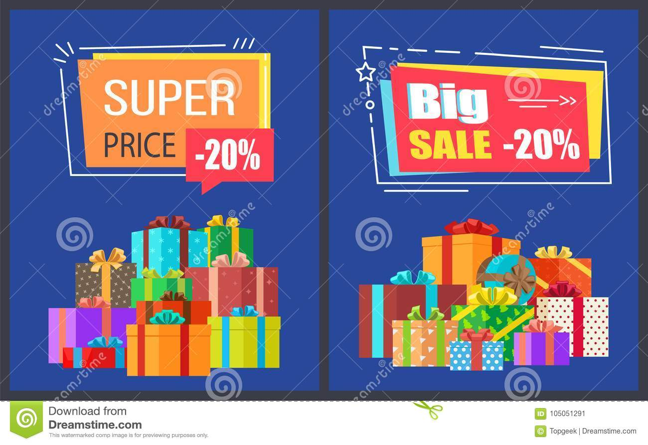 Big Super Sale Best Prices Discounts Promo Posters Stock Vector ...