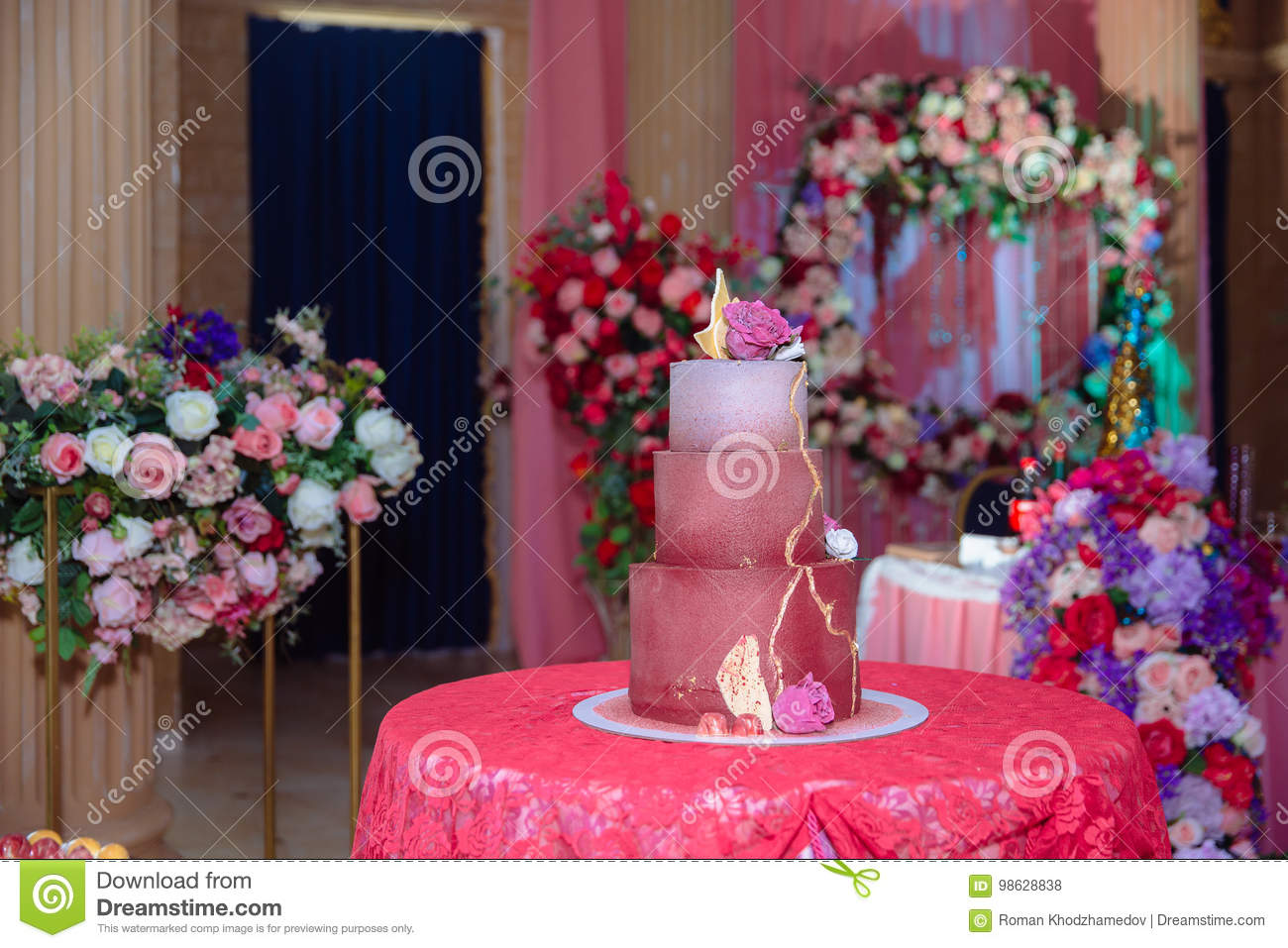 Big Sweet Multilevel Wedding Cake Decorated With Flowers. Concept Of ...