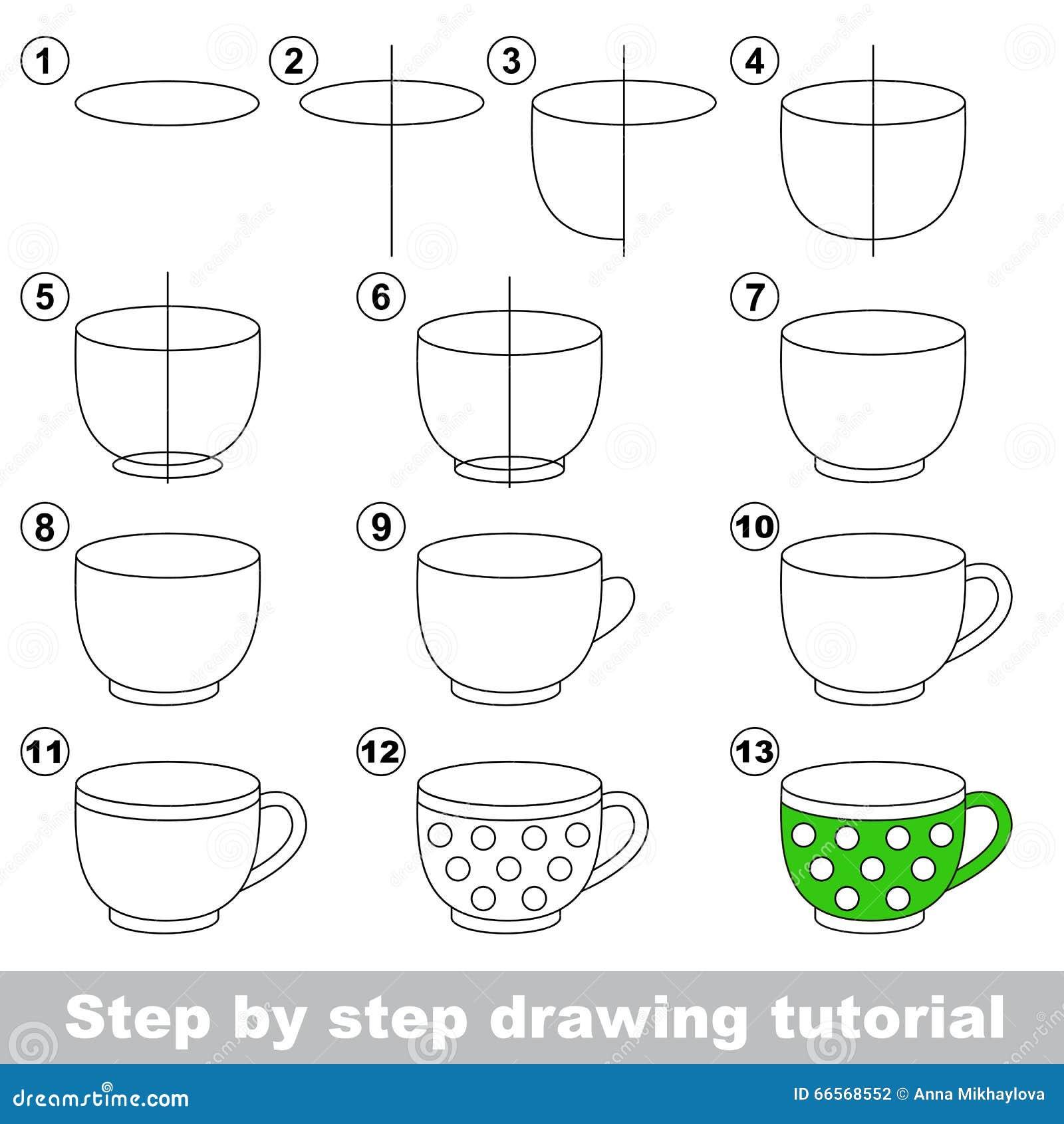 Big Tea Cup. Drawing Tutorial. Stock Vector - Illustration of ...