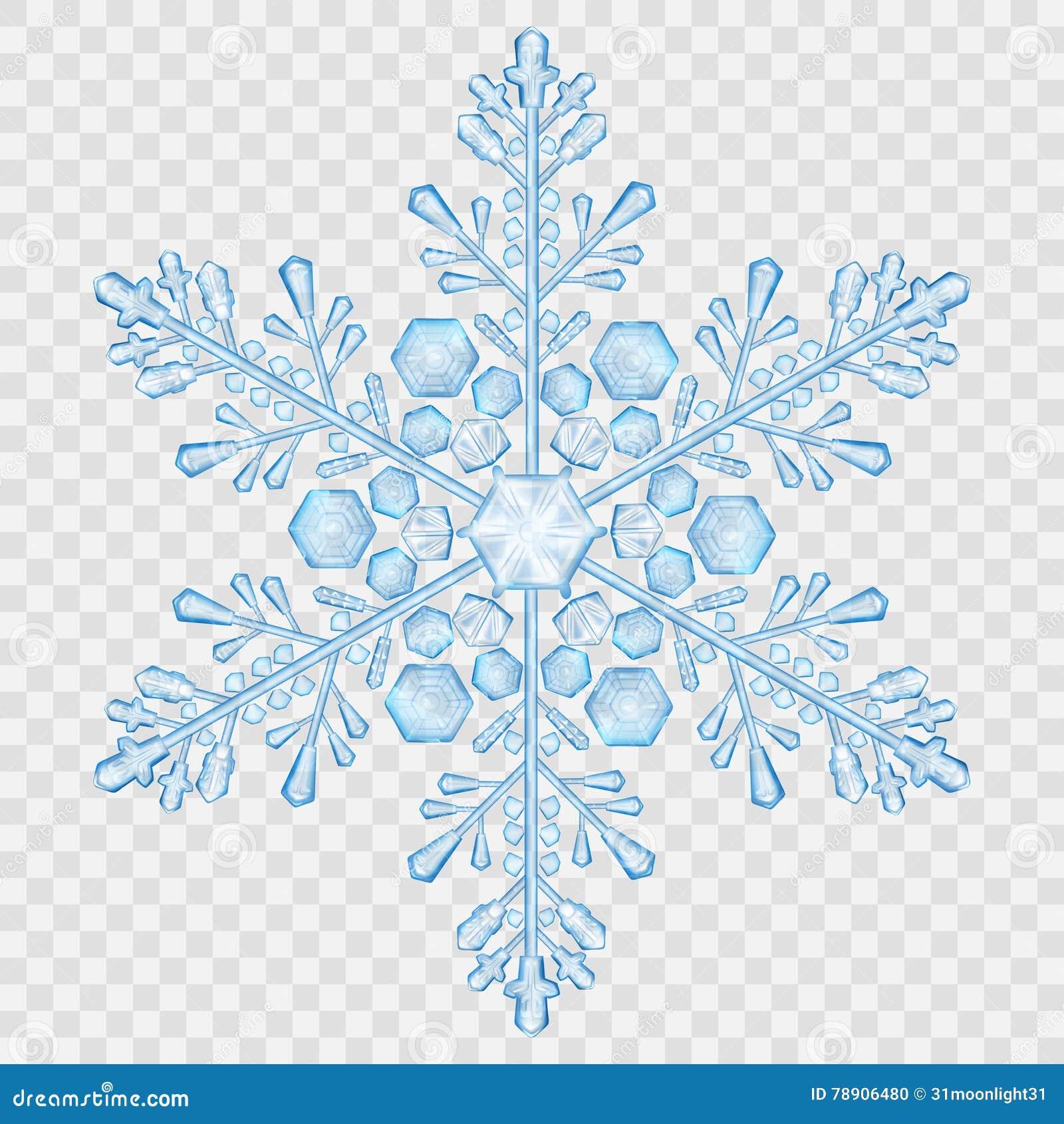 Big translucent crystal snowflake stock vector