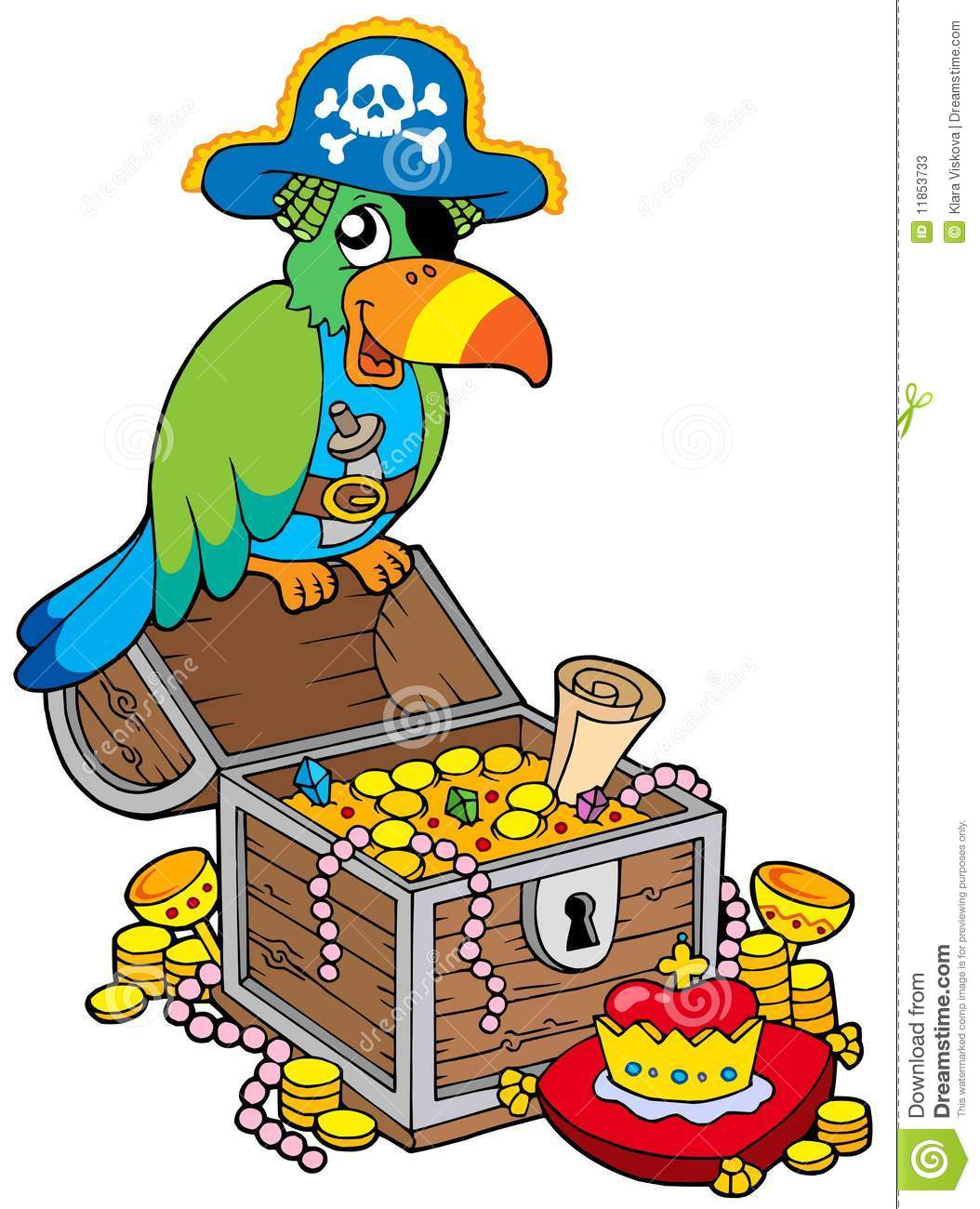 Big Treasure Chest With Pirate Parrot Stock Vector ...