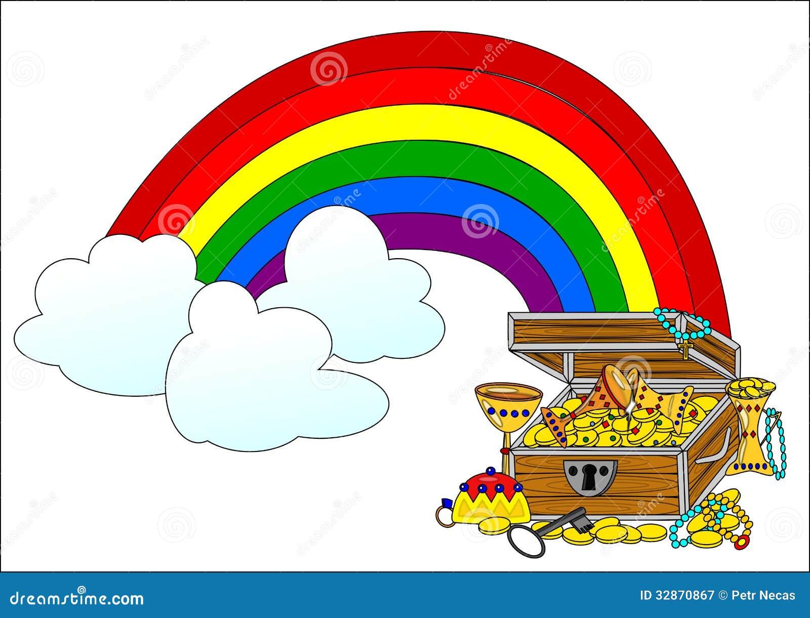 Big Treasure Chest And Rainbow Royalty Free Stock