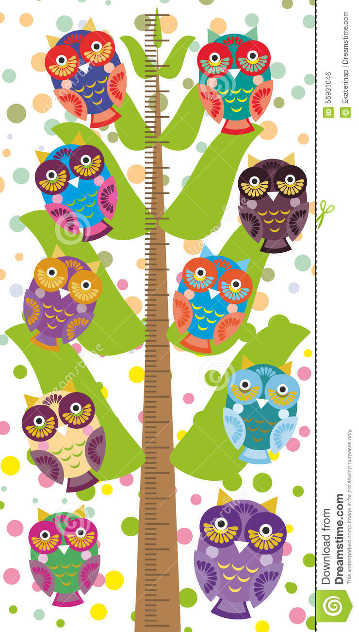 big tree with green branches and fun colored owls on white