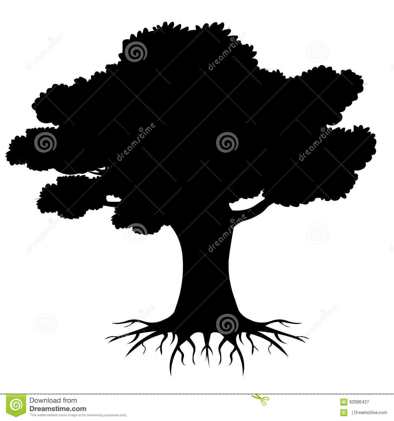 Big Tree Roots Silhouette With Roots Stock Vector - Image: 62686427