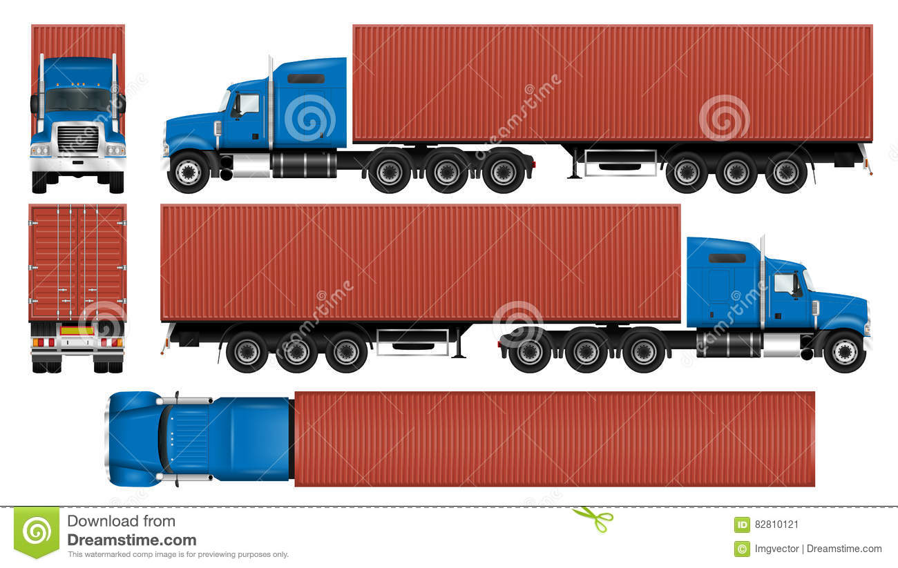 big truck container template stock vector illustration of