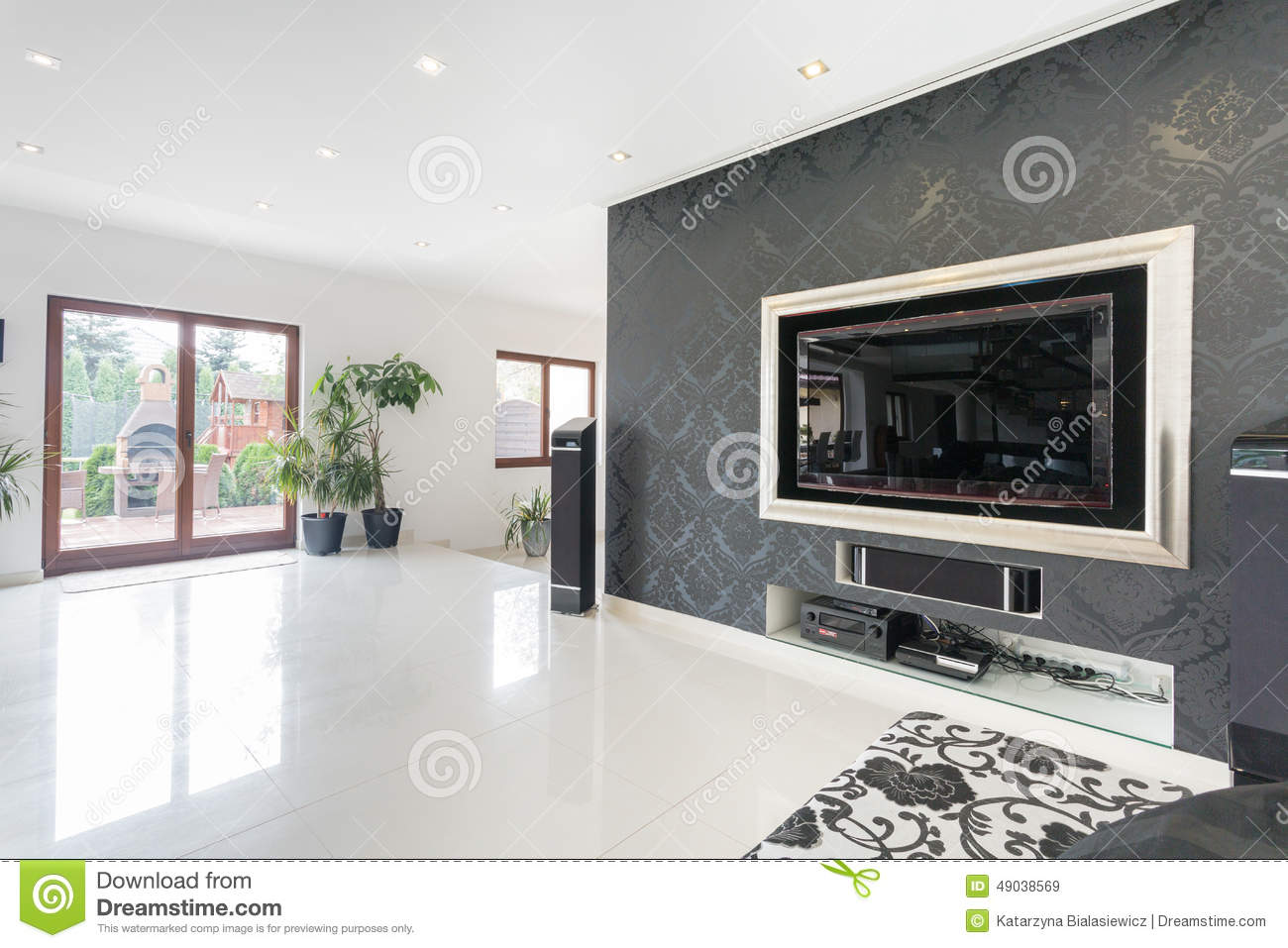 Big Tv In A Living Room Stock Photo Image 49038569