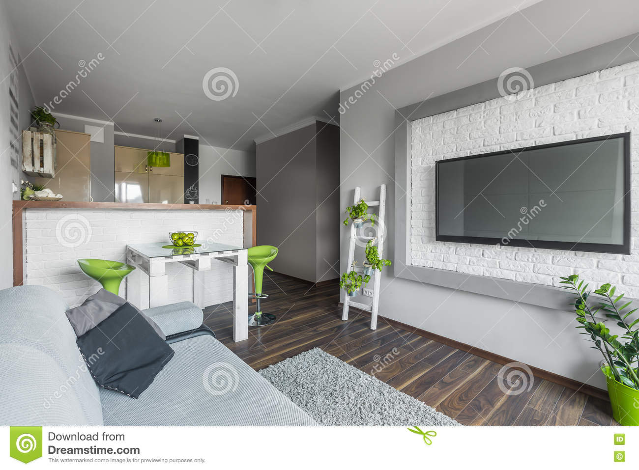 Big Tv In Small Living Room Stock Image Image Of Design Paint 73943087
