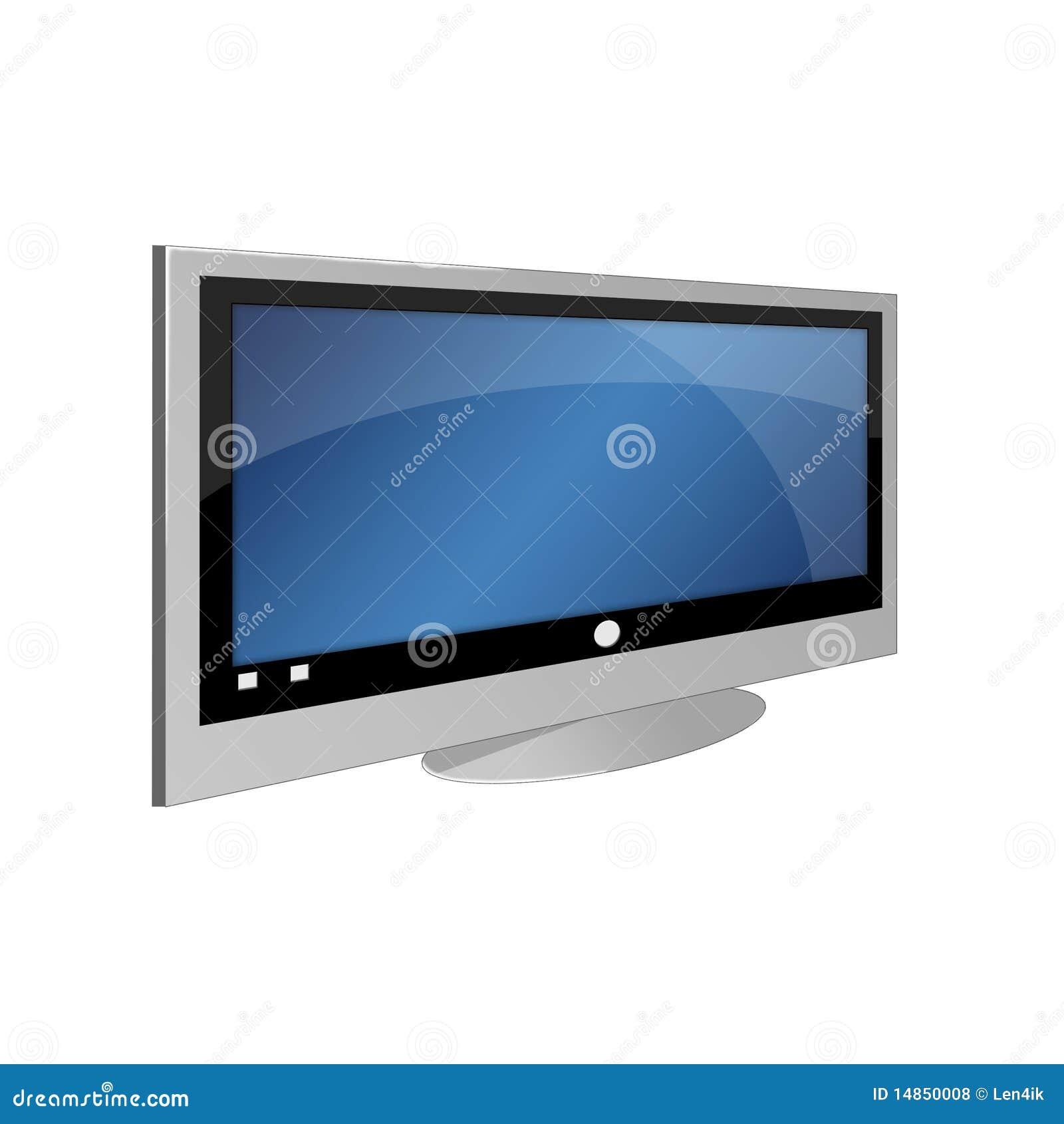 Big TV on white background