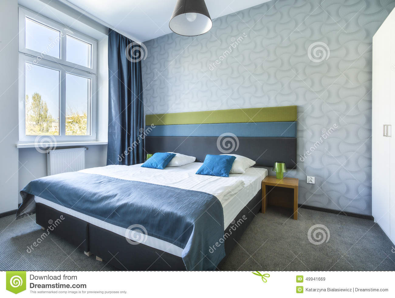 Big Twin Bed In Blue Hotel Apartment Stock Image Image Of