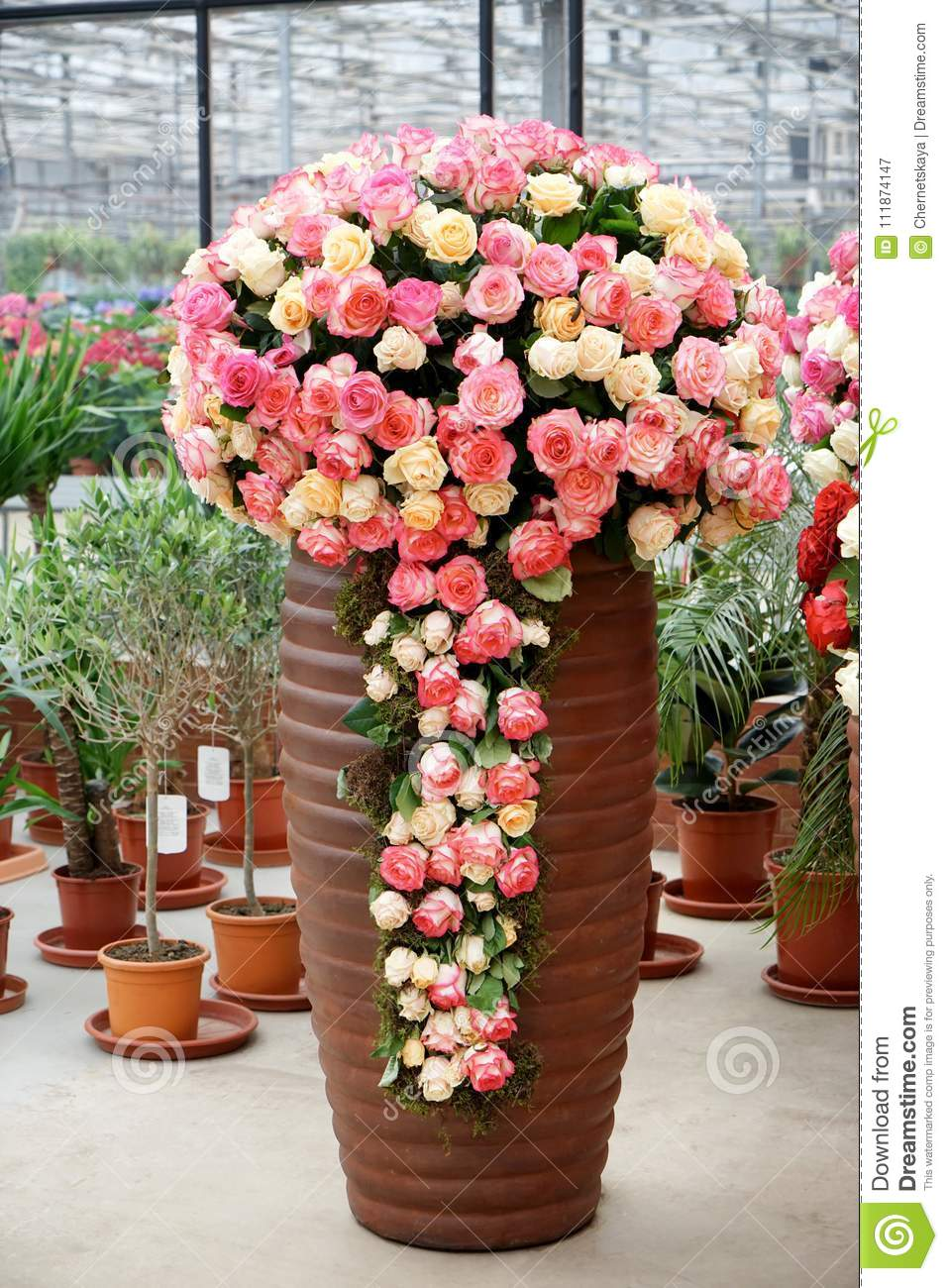 Big Vase With Beautiful Roses