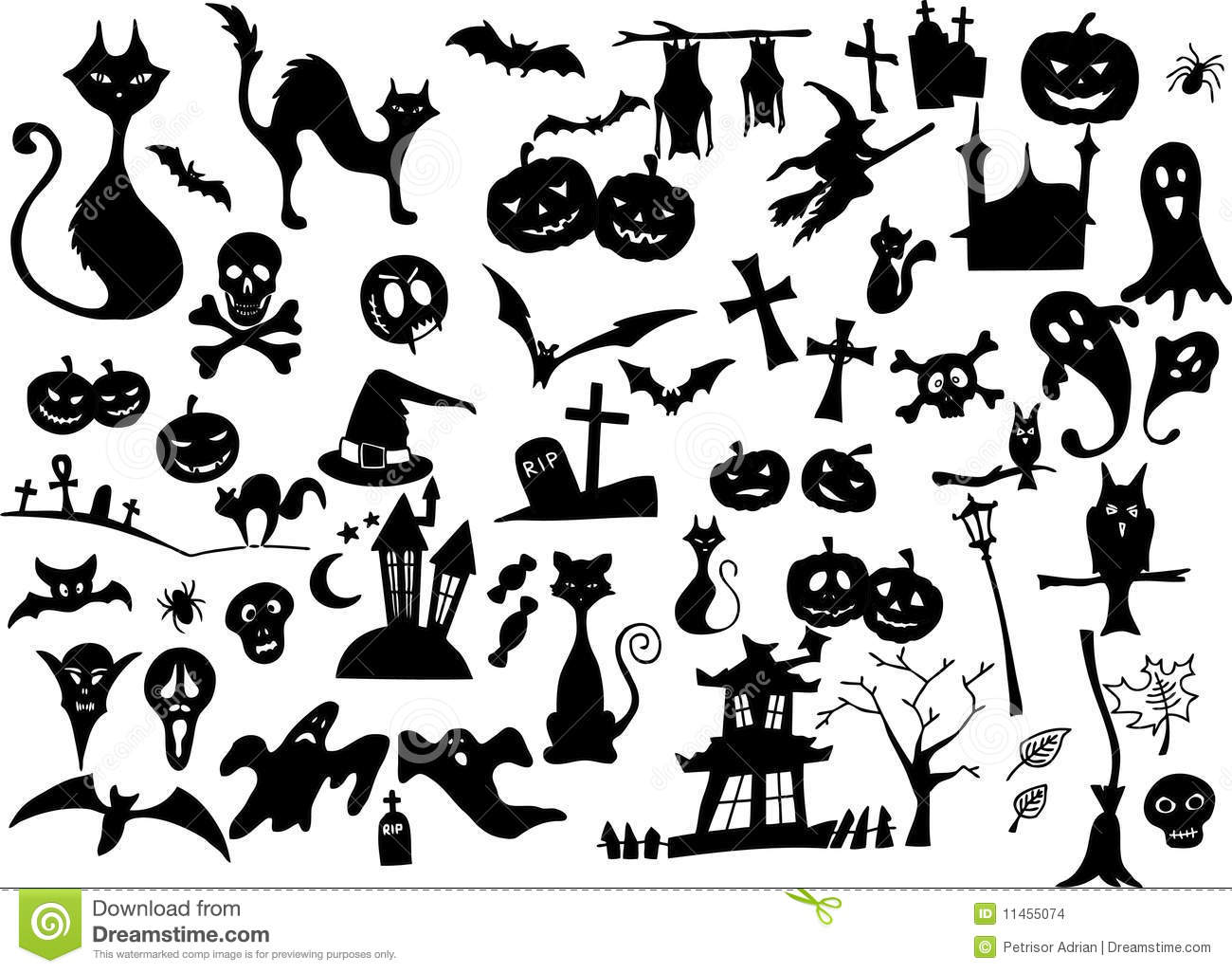 Stock Images Big Vector Collection Halloween Silhouettes Image11455074 on monster house plans designs