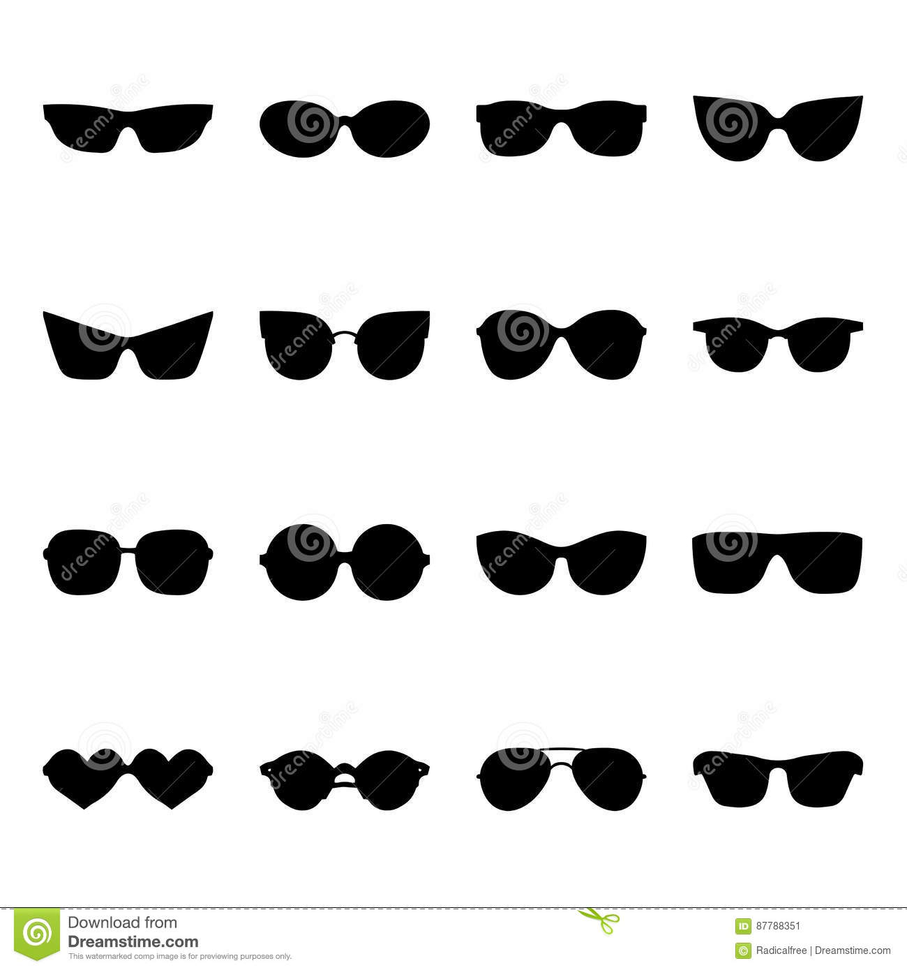 169780d8a8 Big vector set of icons of different shapes sunglasses in trendy flat style.