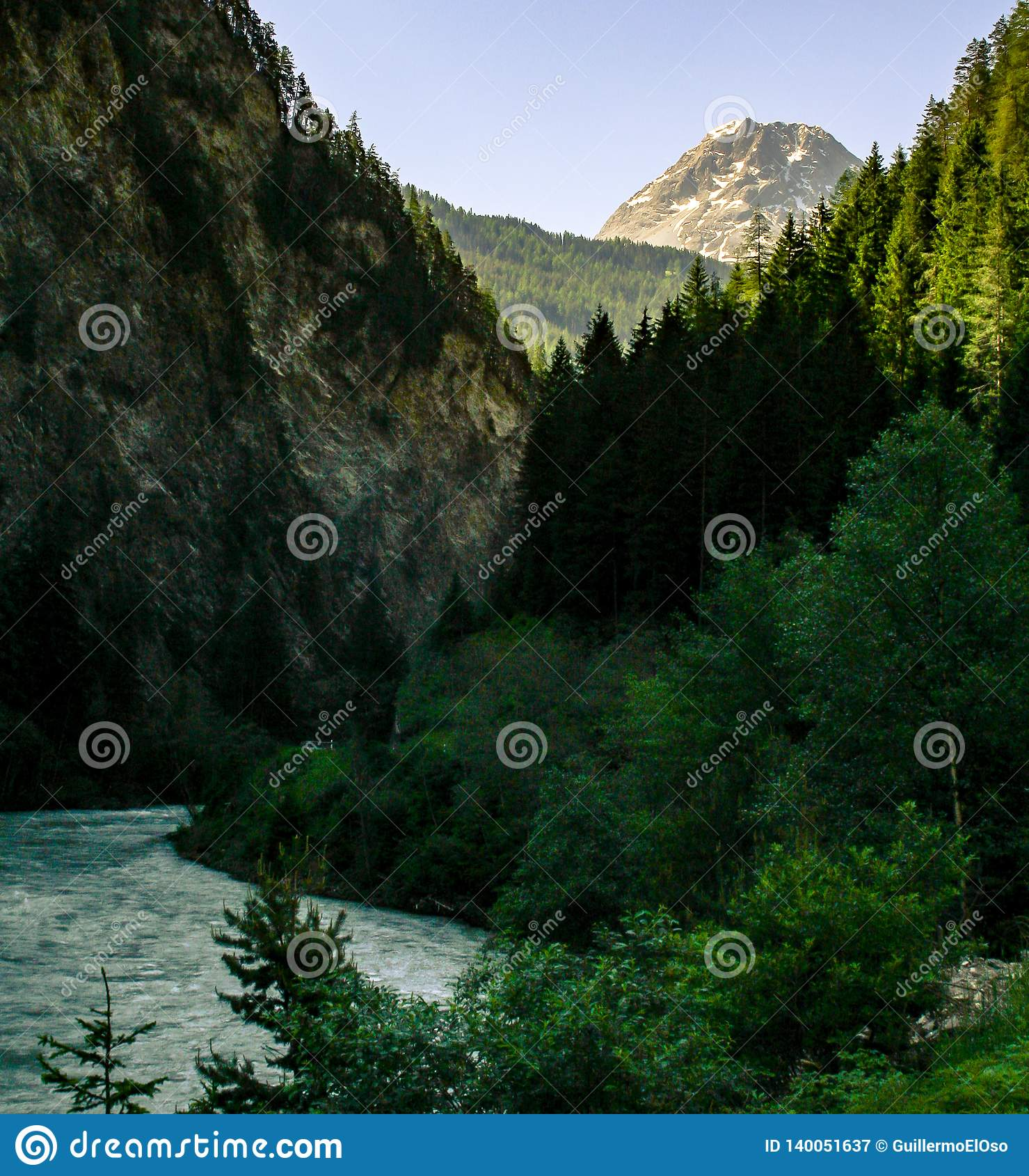 Big view on the mountain and river