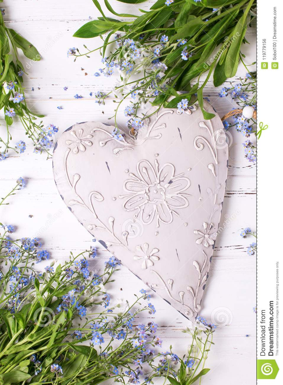 Big Vintage Heart And Frame From Blue Forget-me-nots Or Myoso Stock ...