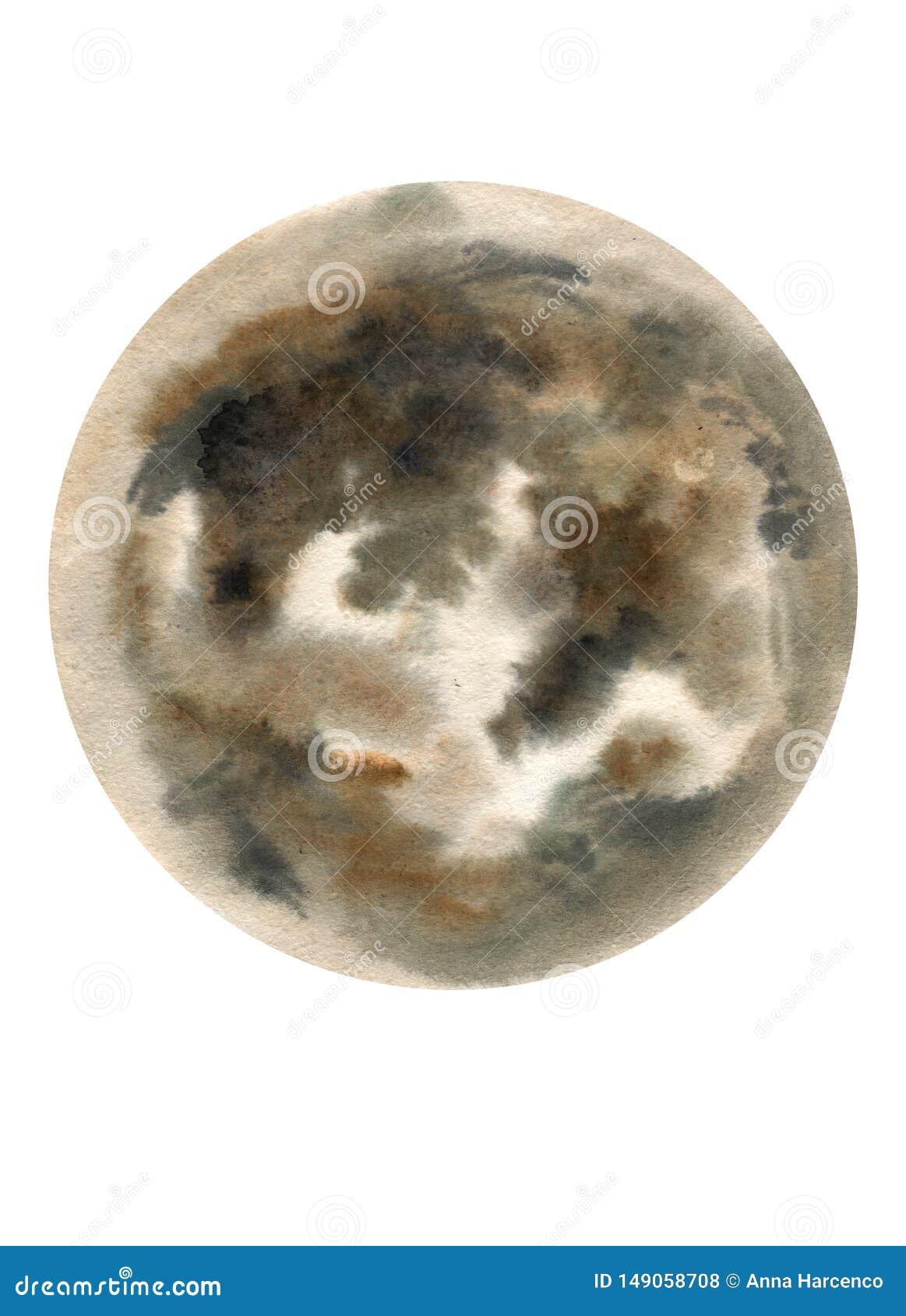 Big watercolor moon illustration. Symbol of new beginning, dreaming, romance, fantasy, magic. Black, grey colors, circle, full vie