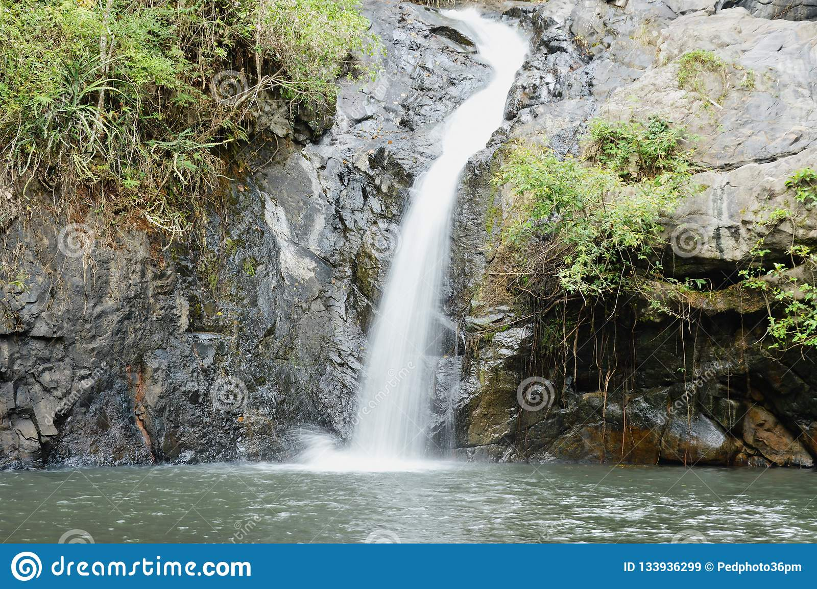 Big waterfall in forest at Jetkod-Pongkonsao travel location on Thailand