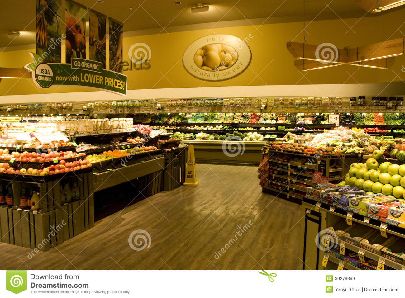 Variety Of Organic Food Section Grocery Store