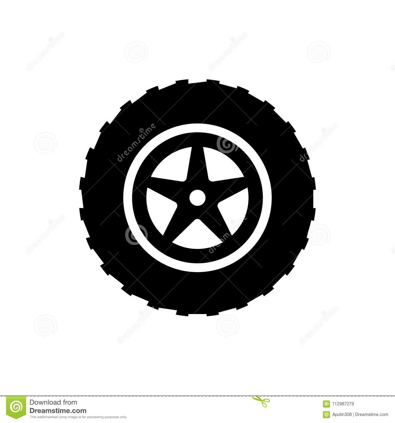 Big wheel web icon vector. black isolated