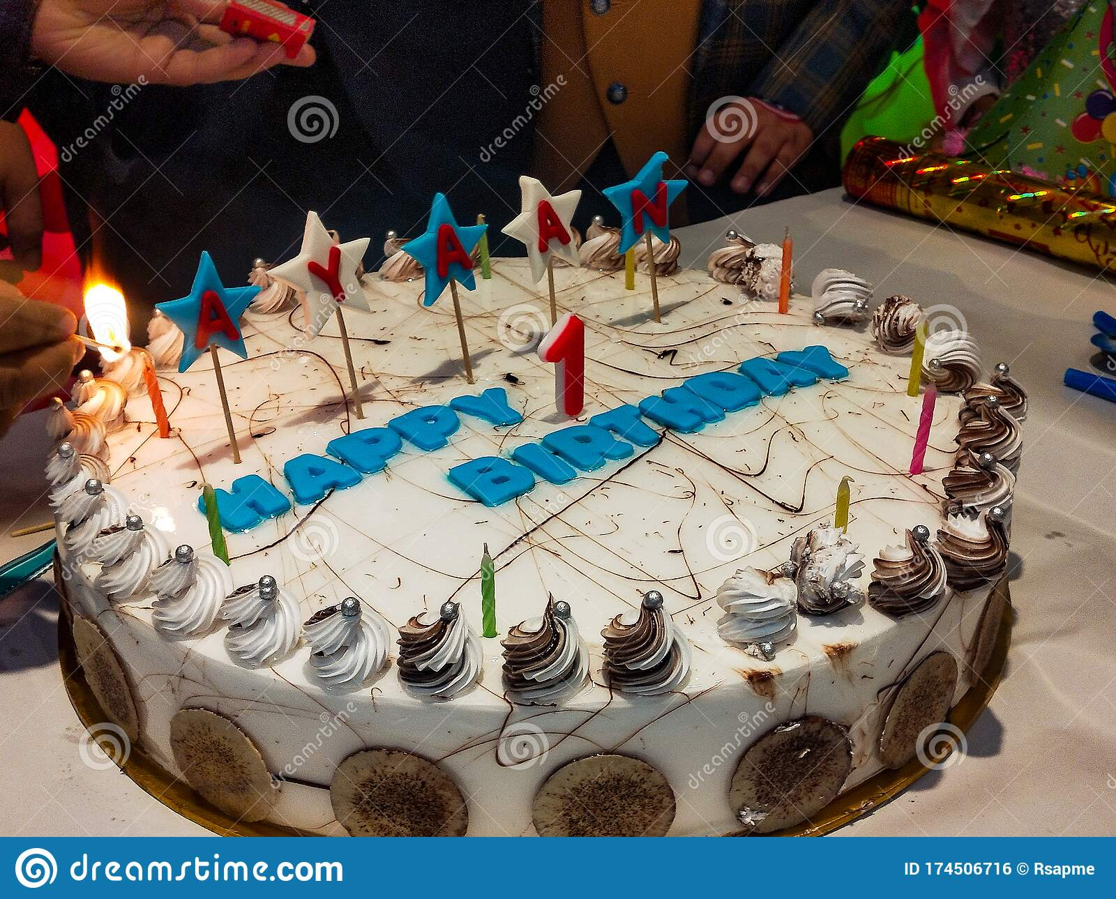 Big White Cake For Celebrating Baby Boy Happy Birthday With Awesome Decorations In Delhi India Birthday Party Of Baby Boy Stock Photo Image Of Delhi Decorations 174506716