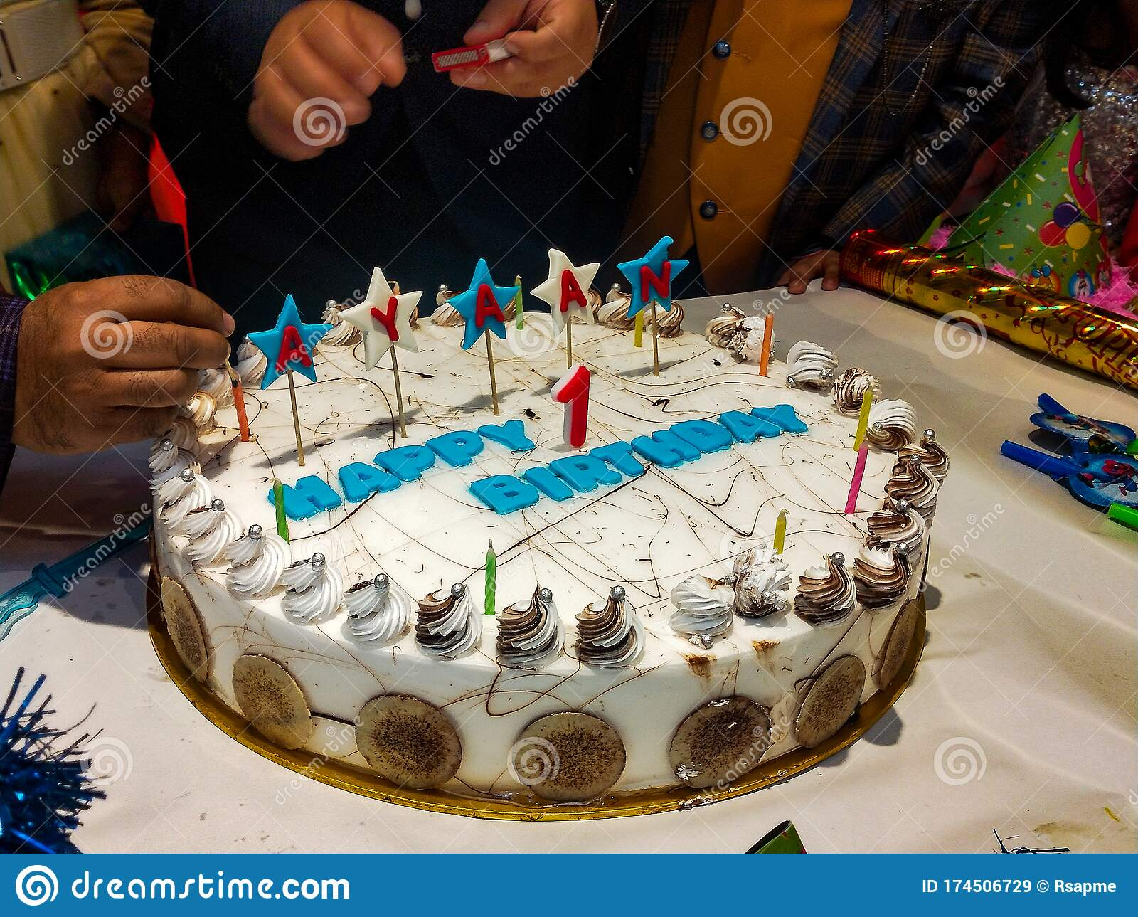 Big White Cake For Celebrating Baby Boy Happy Birthday With Awesome Decorations In Delhi India Birthday Party Of Baby Boy Stock Image Image Of Awesome Decorations 174506729
