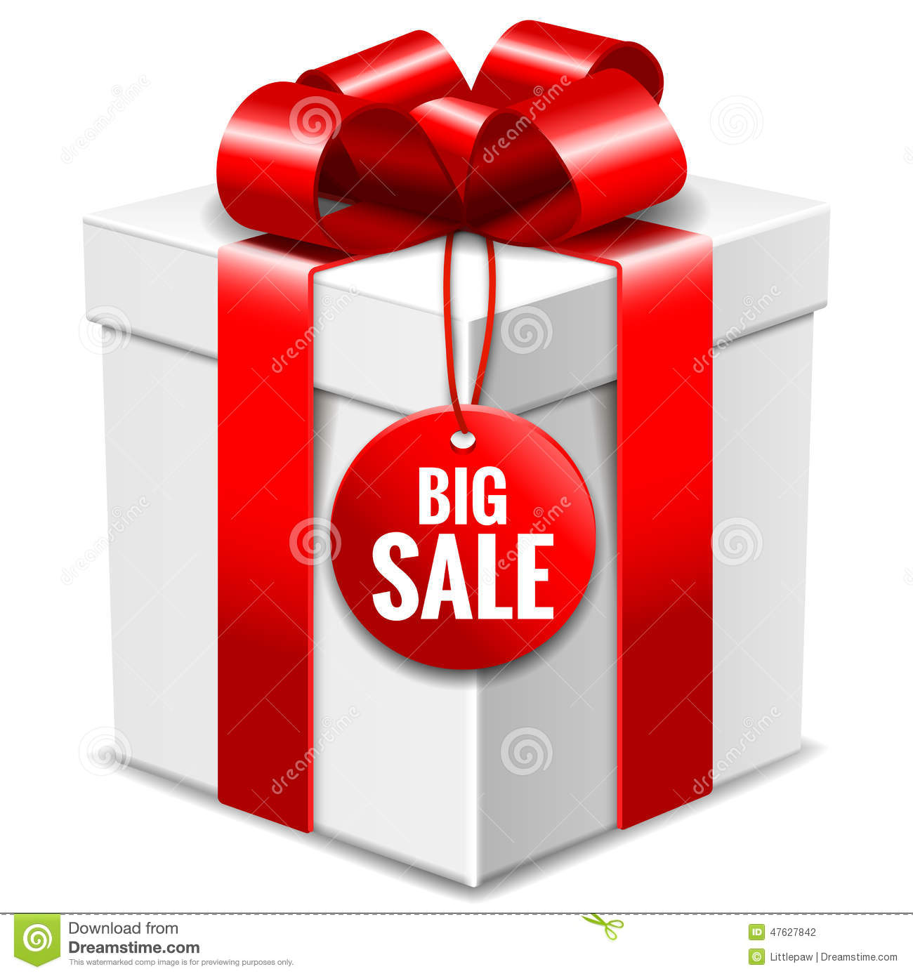 big white gift box with red bow and big sale tag isolated. Black Bedroom Furniture Sets. Home Design Ideas