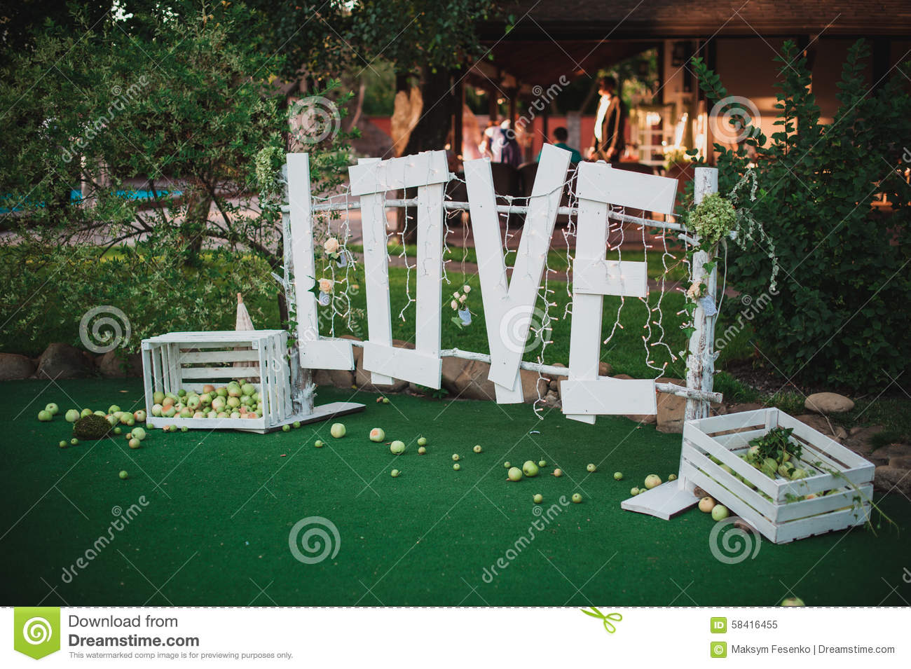 big white love sign made of wood wedding decor stock photo  image, Garden idea