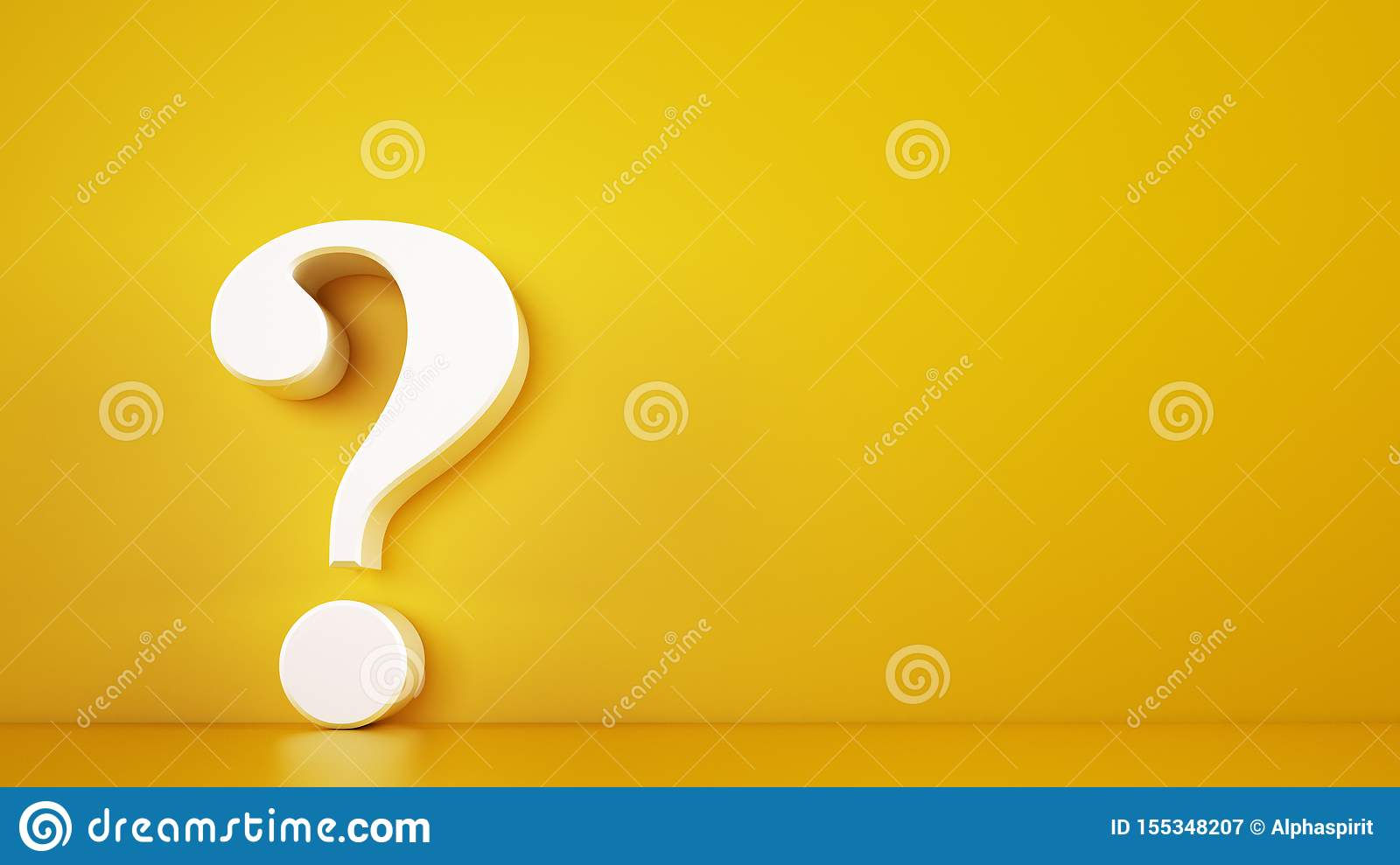 Big white question mark on a yellow background. 3D Rendering