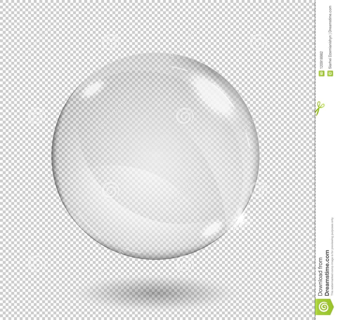 Big white transparent glass sphere with glares and highlights. Transparency only in vector format.