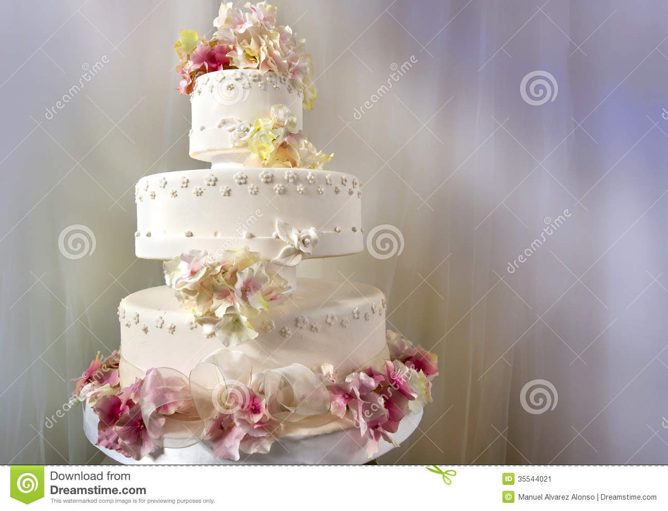 Big White Wedding Cake Decorated Stock Image Image