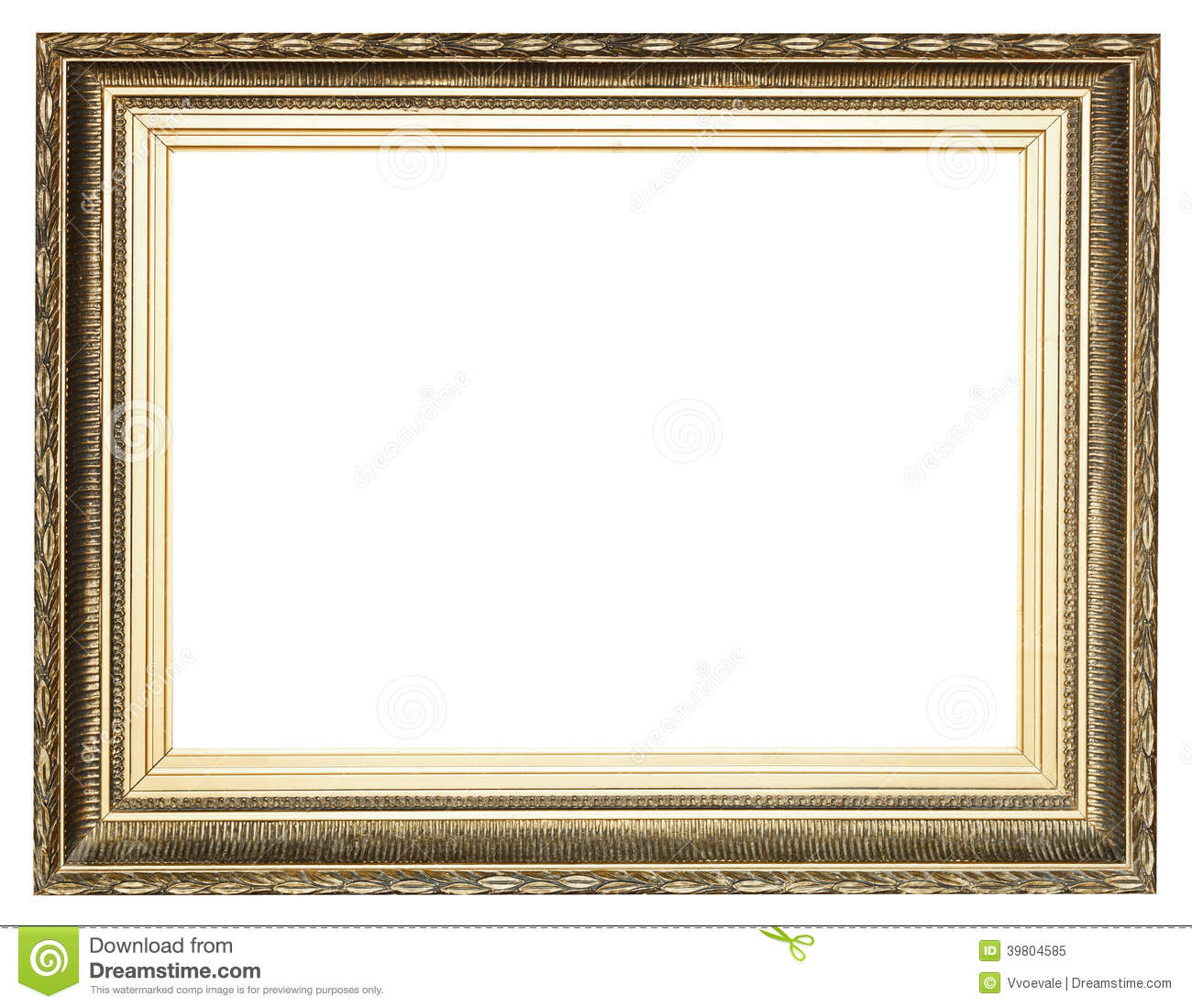 Big wide golden ancient wooden picture frame