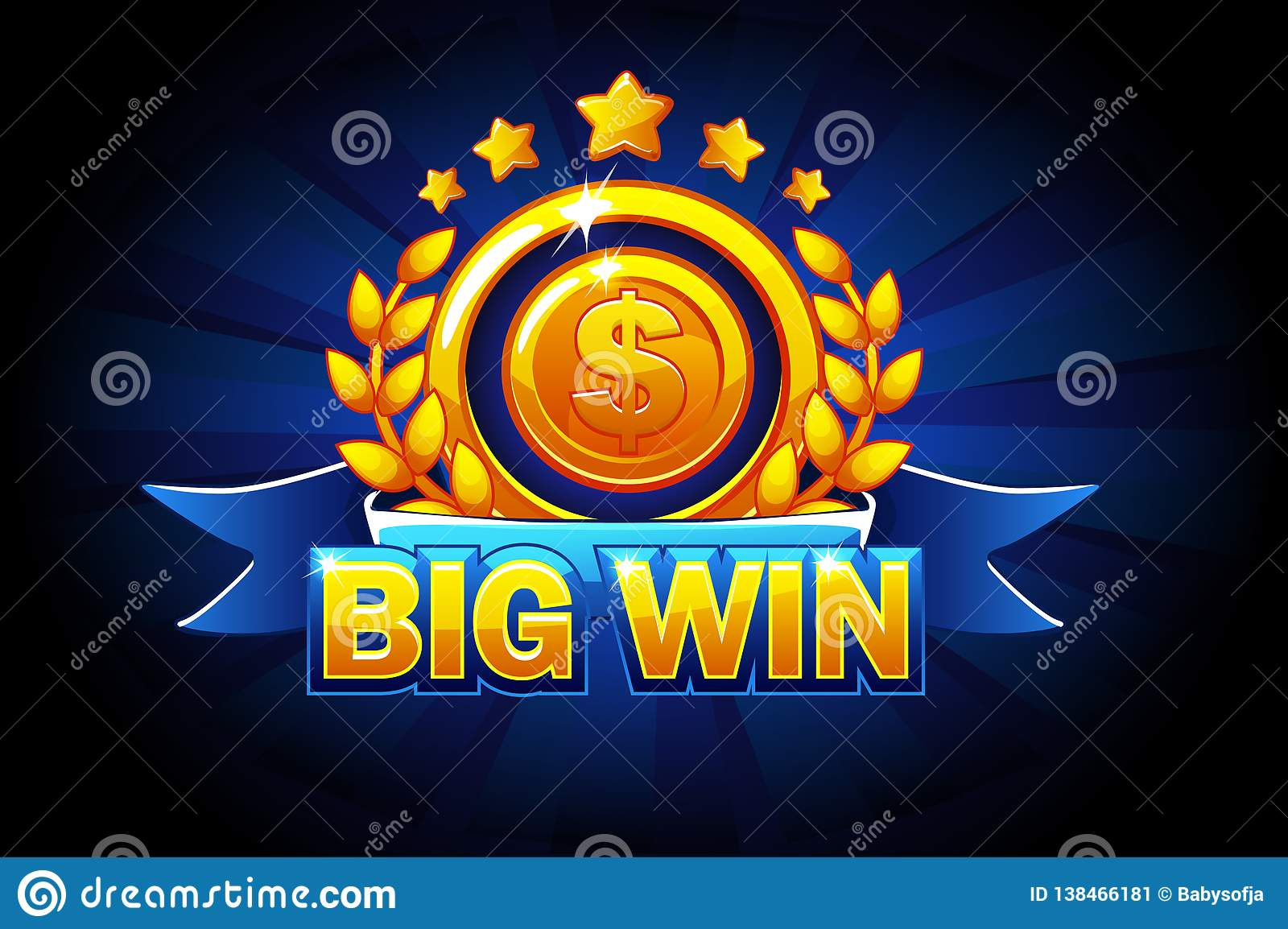 Big Win banner with blue ribbon and text. Vector illustration for casino, slots, roulette and game UI