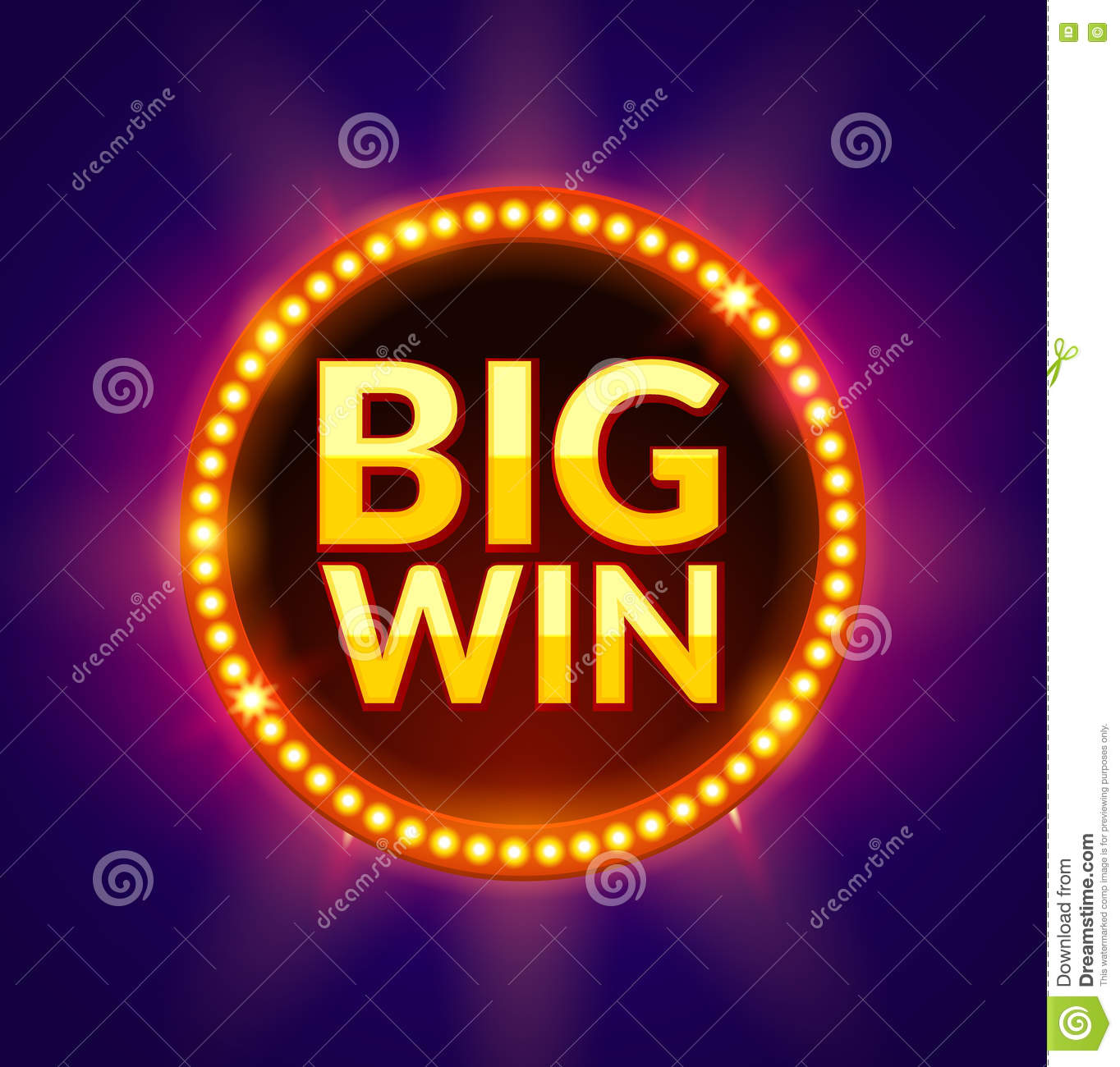 big win glowing banner for online casino  slot  card games