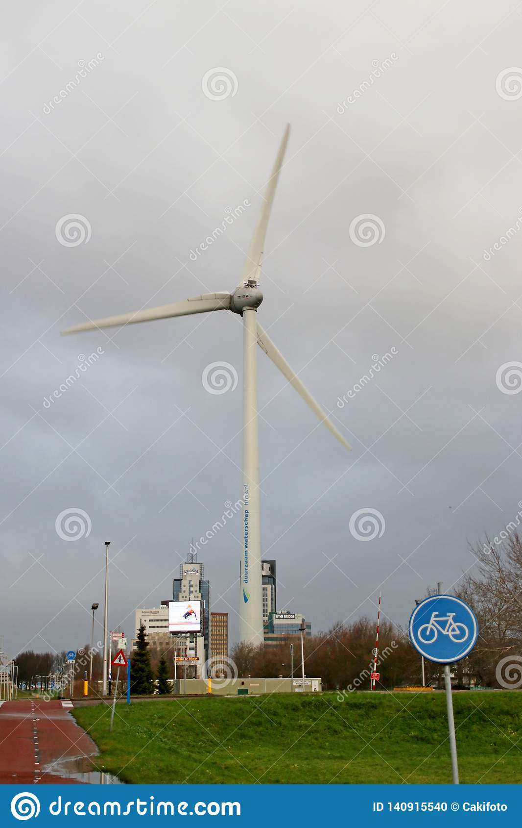 Big Wind Turbine At The Rivium Commercial Zone In Capelle