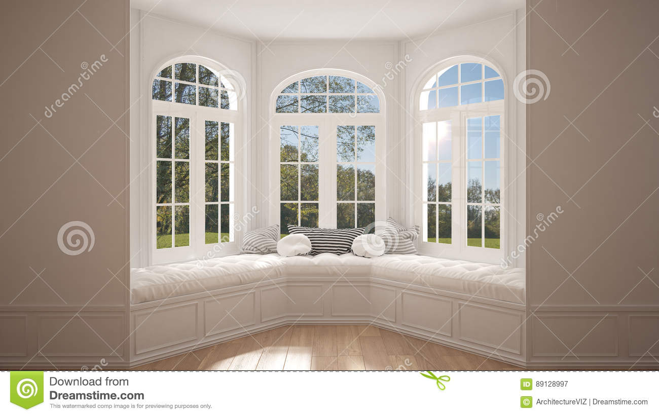 Big window with garden meadow panorama, minimalist empty space,