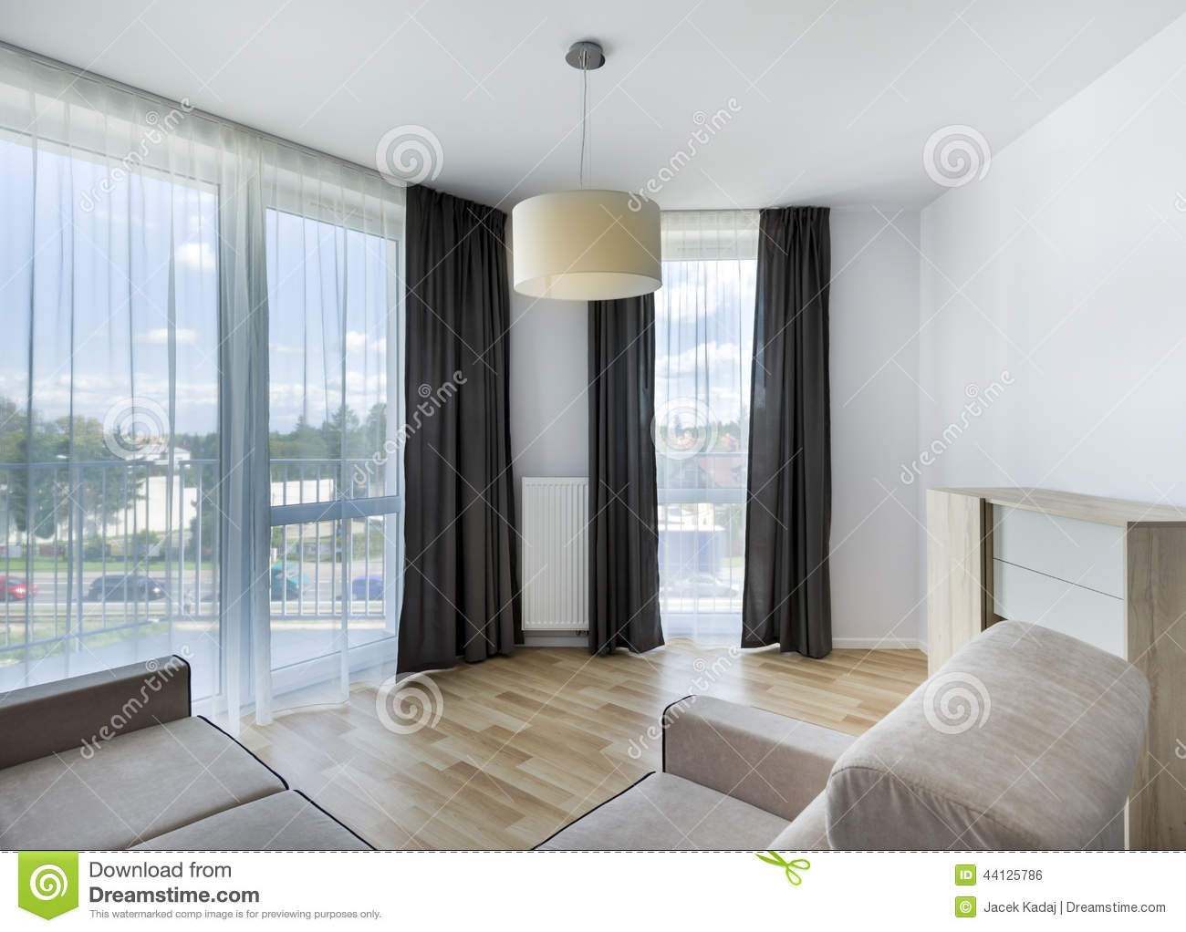 Big Windows In Modern Living Room Apartment Stock Photo Image