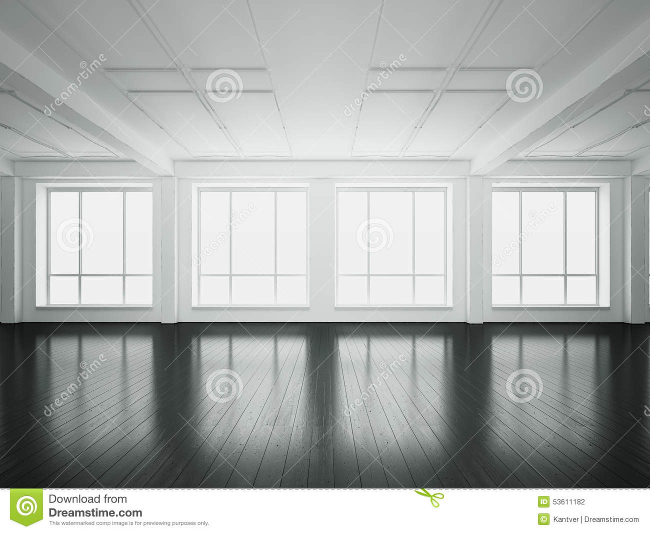 Interior office windows - Big Windows In Open Space Interior 3d Rendering Stock Photography