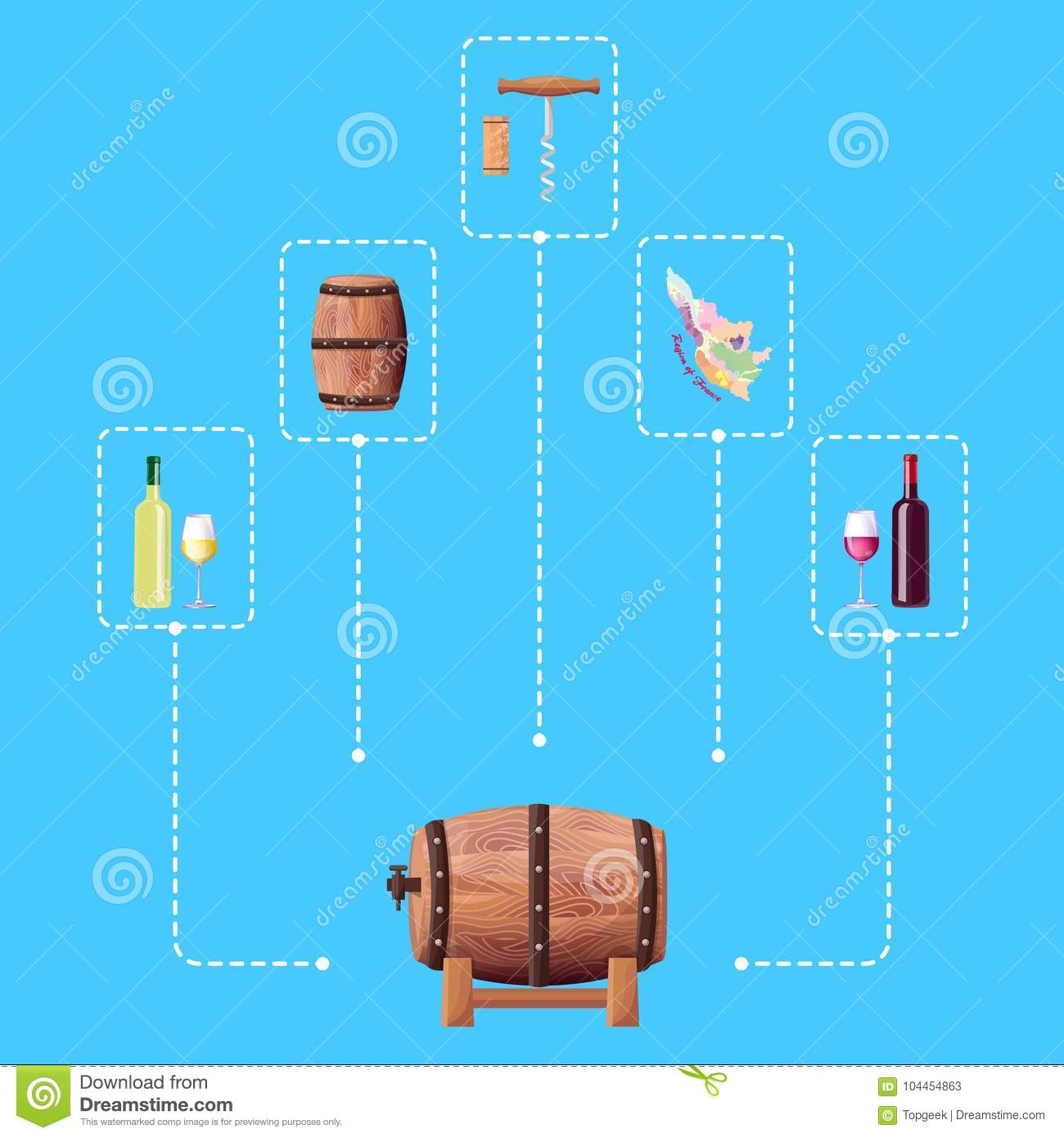 Wine Barrel and Connected Icon Vector Illustration
